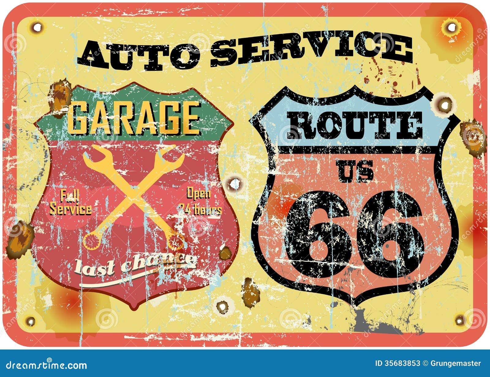 retro garage sign stock vector image of shape doodle. Black Bedroom Furniture Sets. Home Design Ideas