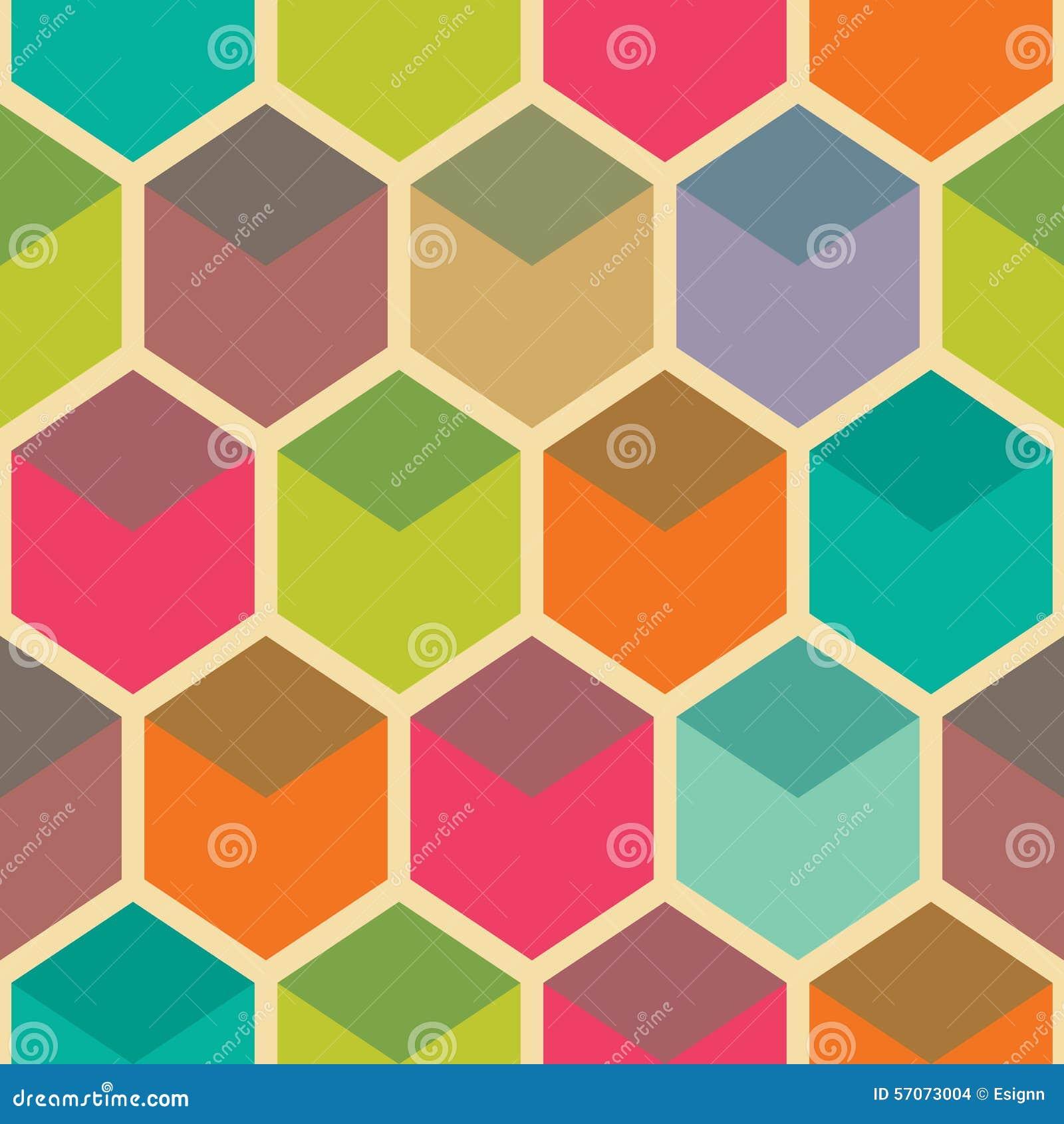 Retro geometrisch hexagon naadloos patroon