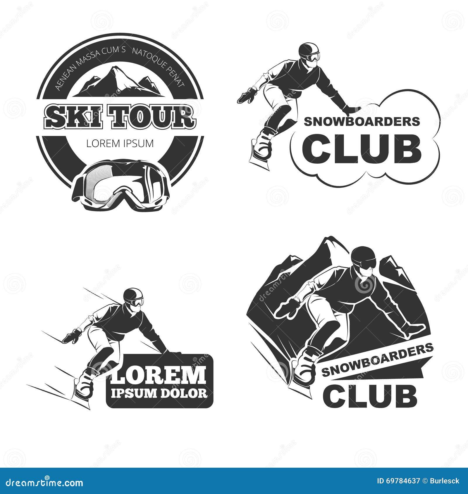 Retro geplaatste ski vectoremblemen, kentekens en emblemen