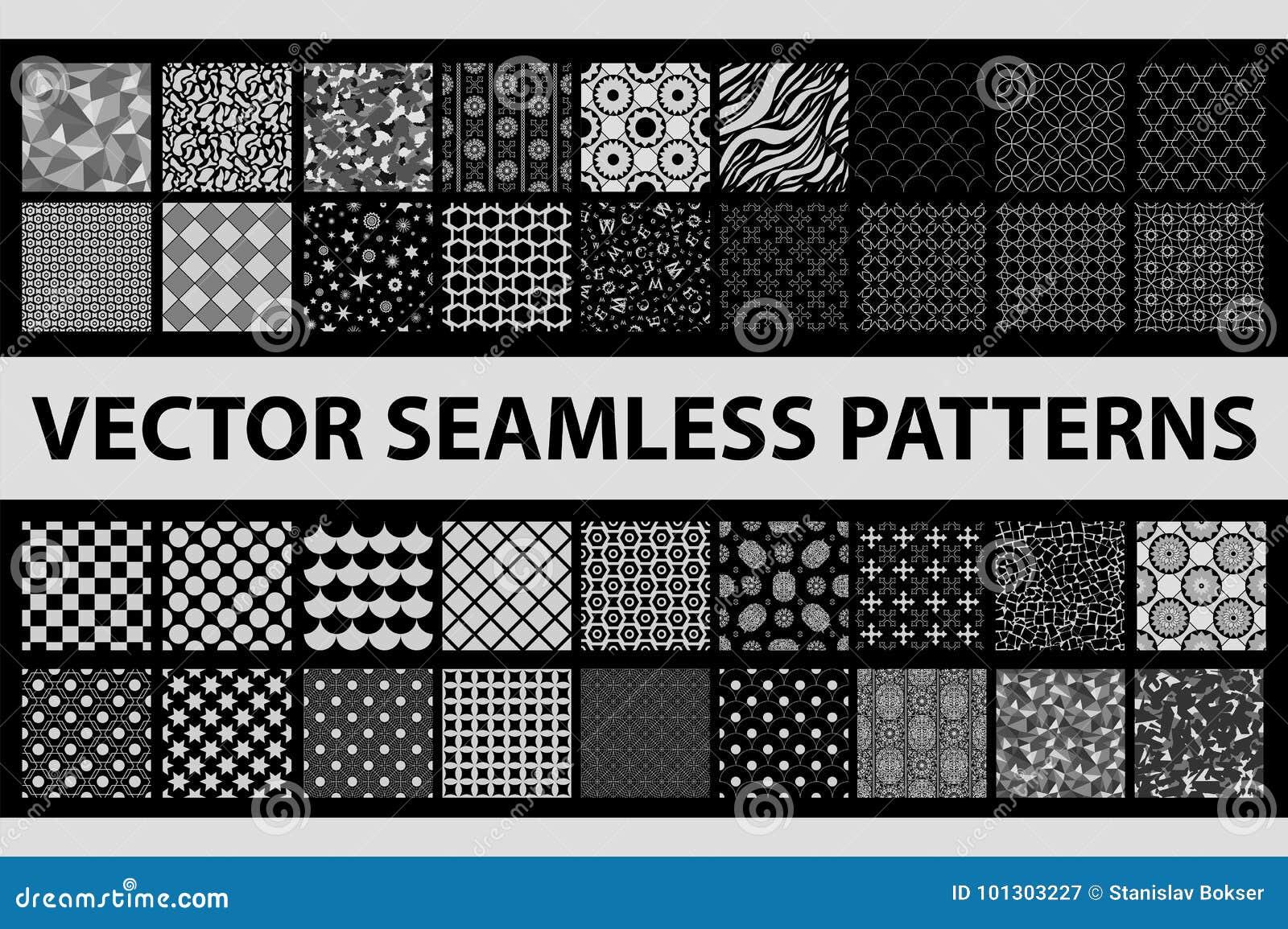 Retro gestileerd vector naadloos patroonpak: samenvatting, wijnoogst, technologie en geometrisch 36 zwart-witte elementen
