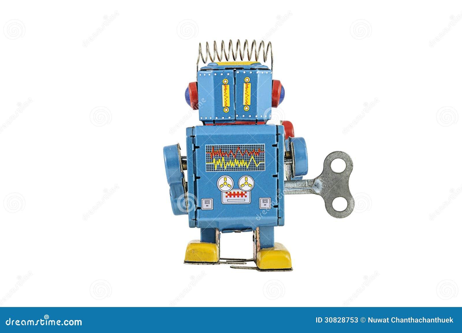 Retro giocattoli del robot isolati