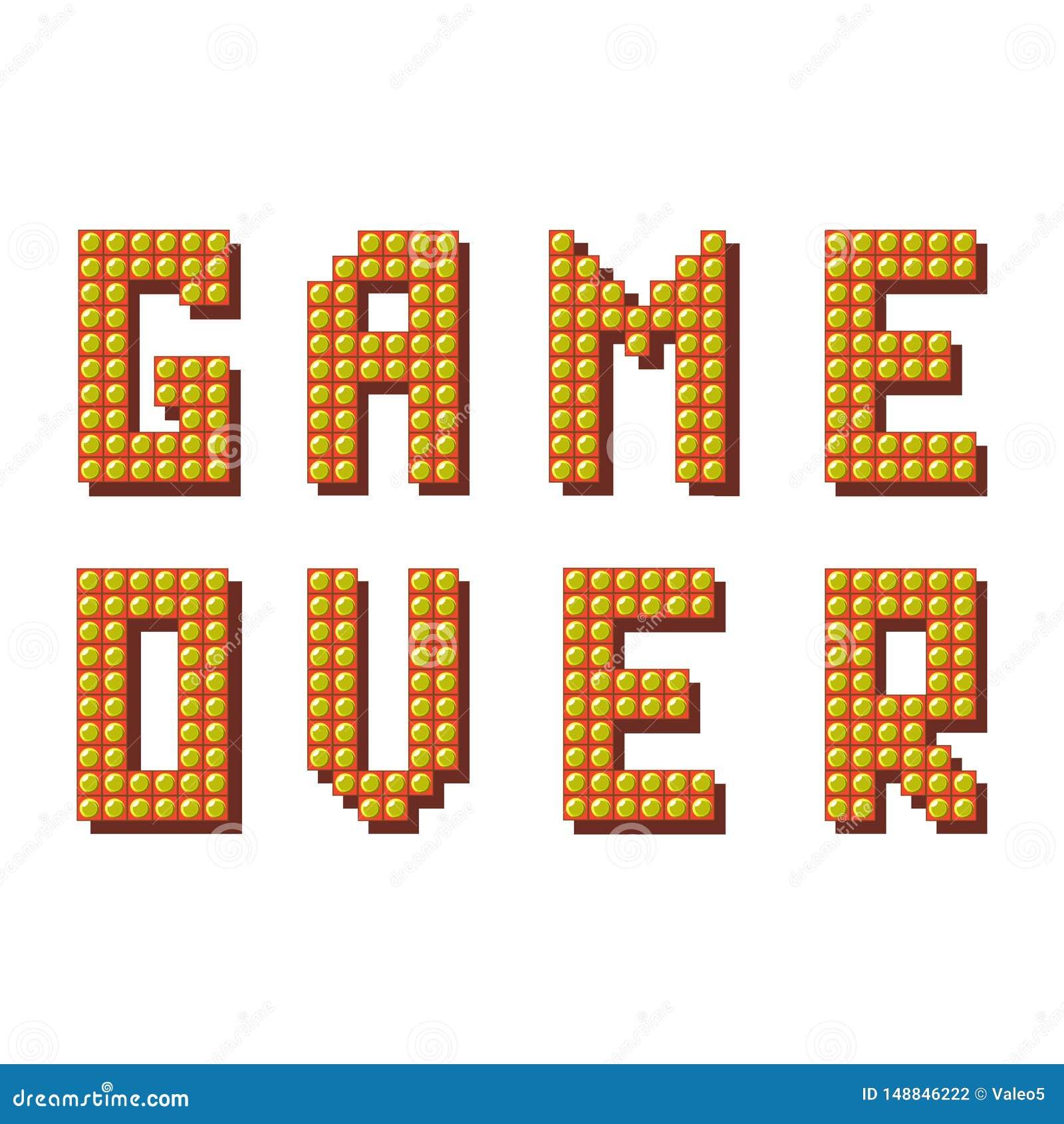 Retro gioco sopra il segno su fondo bianco Concetto di gioco Schermo del video gioco
