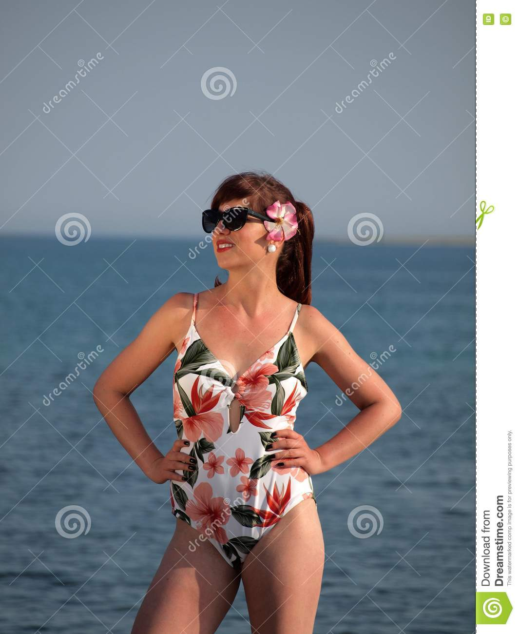 Retro Girl At The Beach Stock Image. Image Of Play