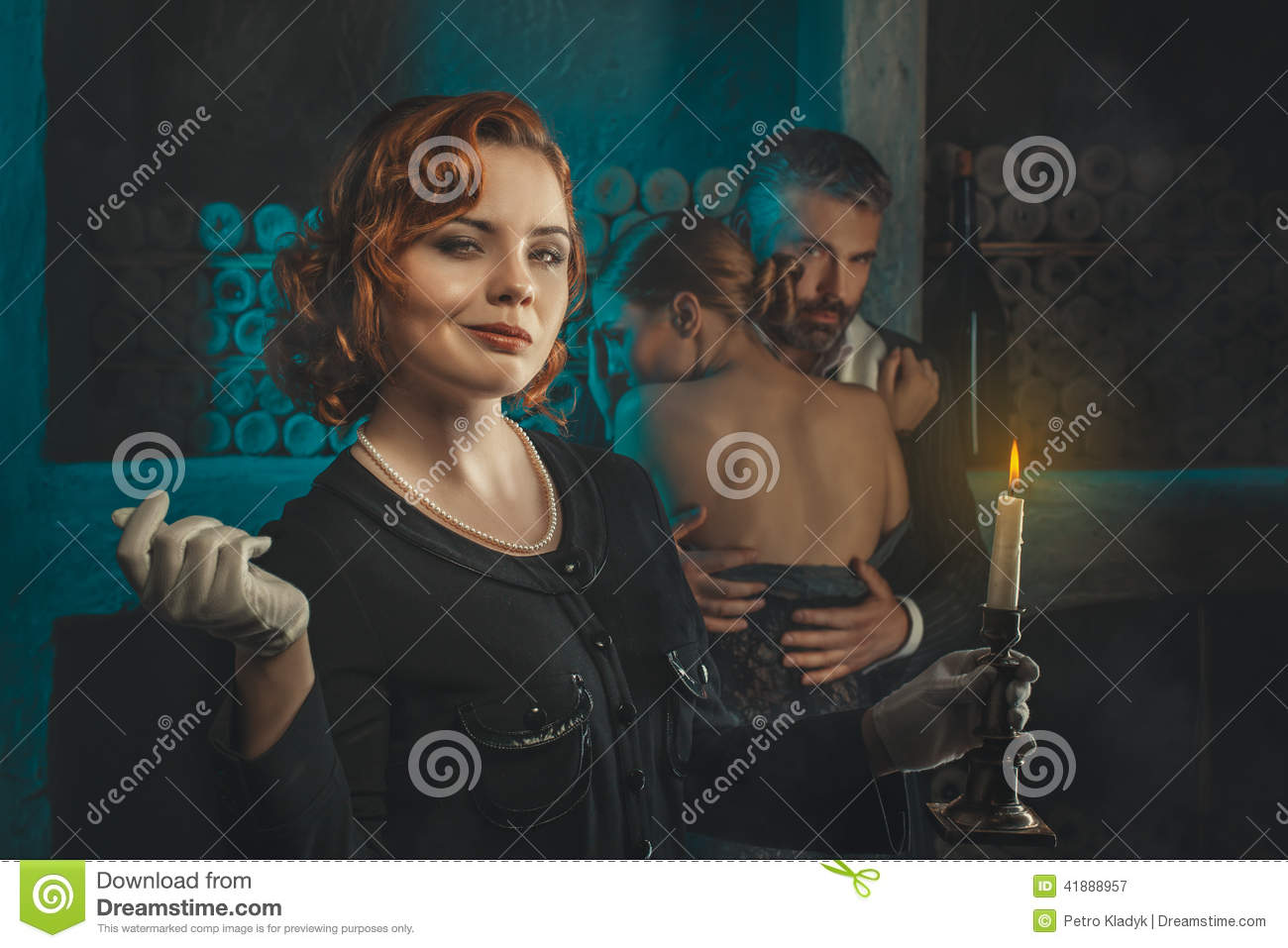 Retro girl with a candle.