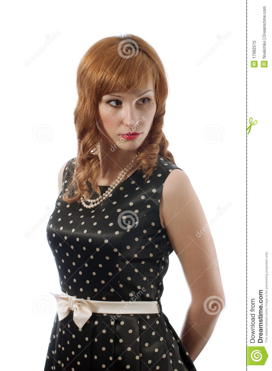 Retro Girl With The Hands Behind Her Back Royalty Free