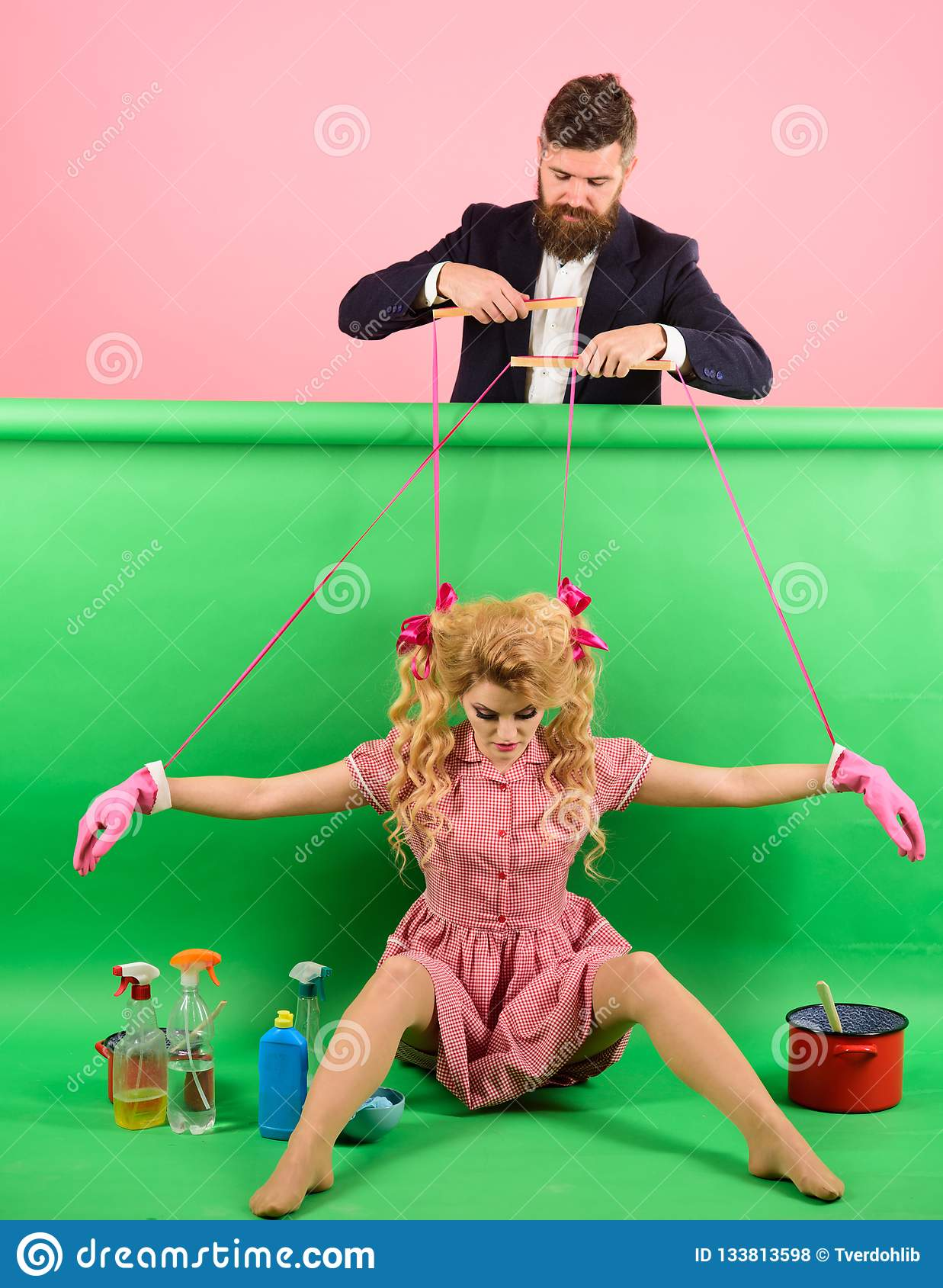 Retro girls and master at party. holidays and doll. dominance and dependence. Housewife. Creative idea. Love. vintage