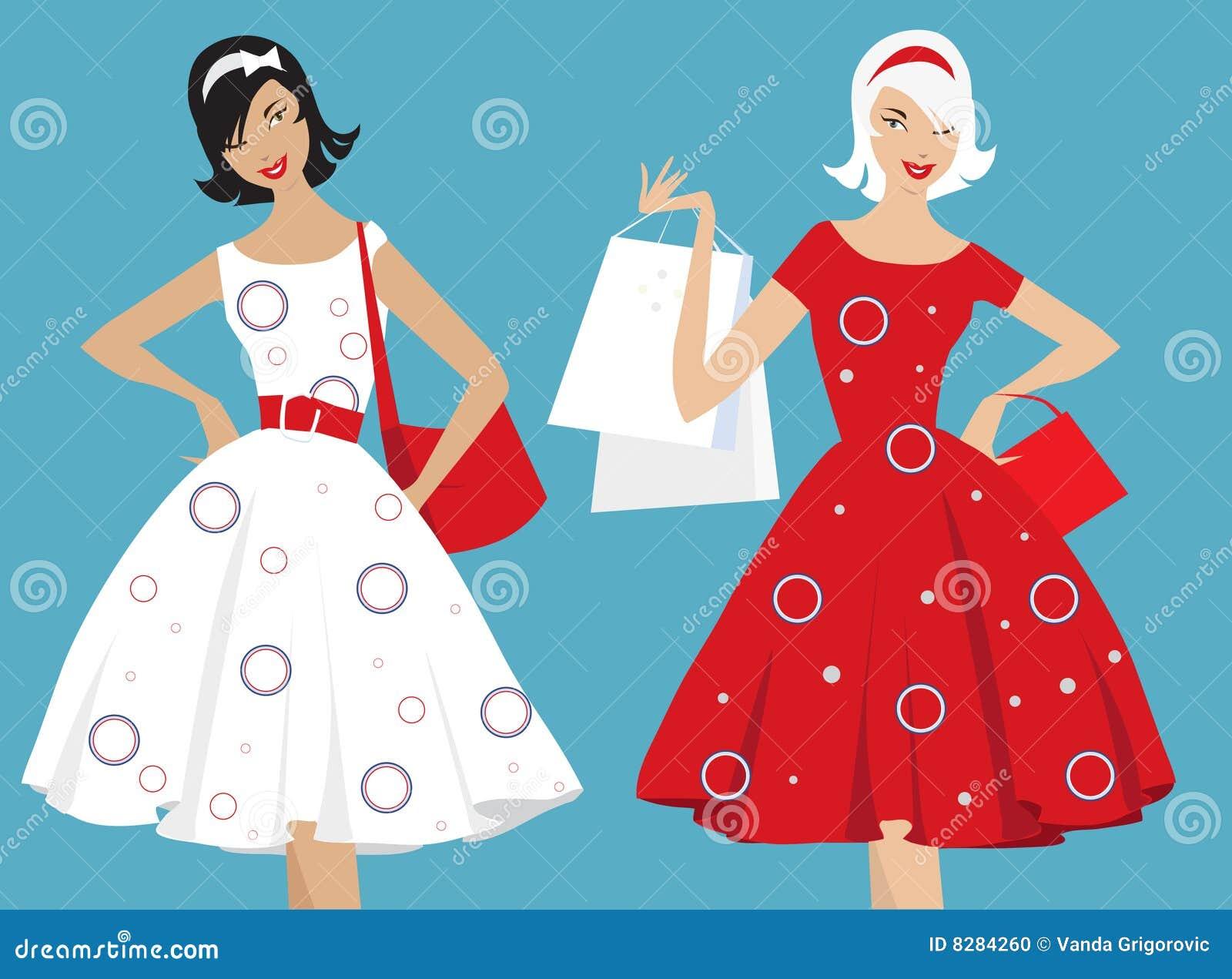 Retro Girls Shopping Stock Vector Image Of Clothes