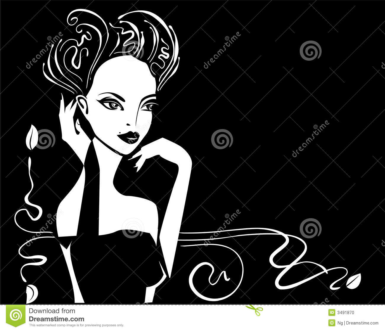 Graphic illustration of a retro glamour woman