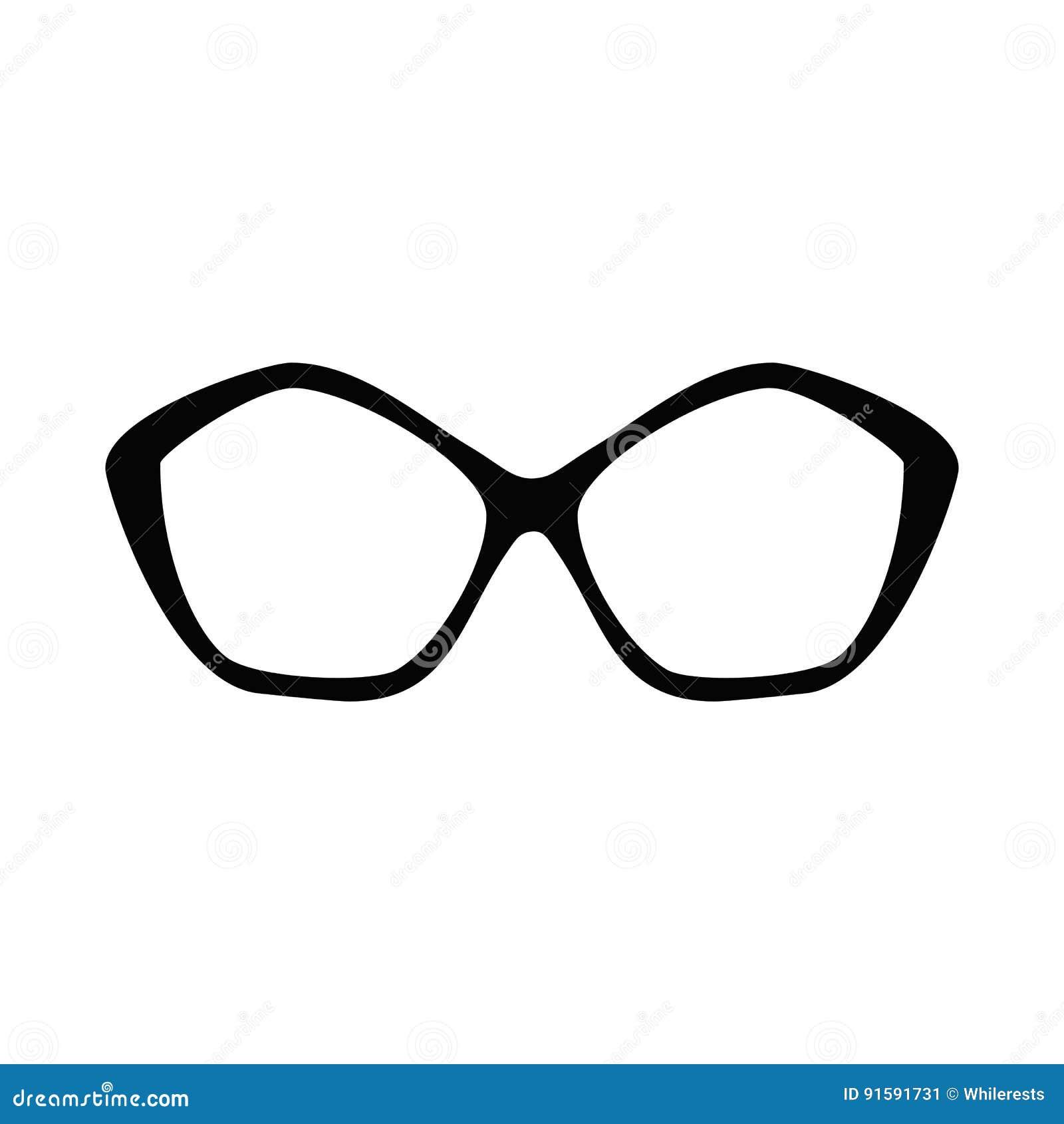 10d2c689912b16 Retro glazen Zonnebril zwarte silhouetten Het pictogram van oogglazen  Vector illustratie