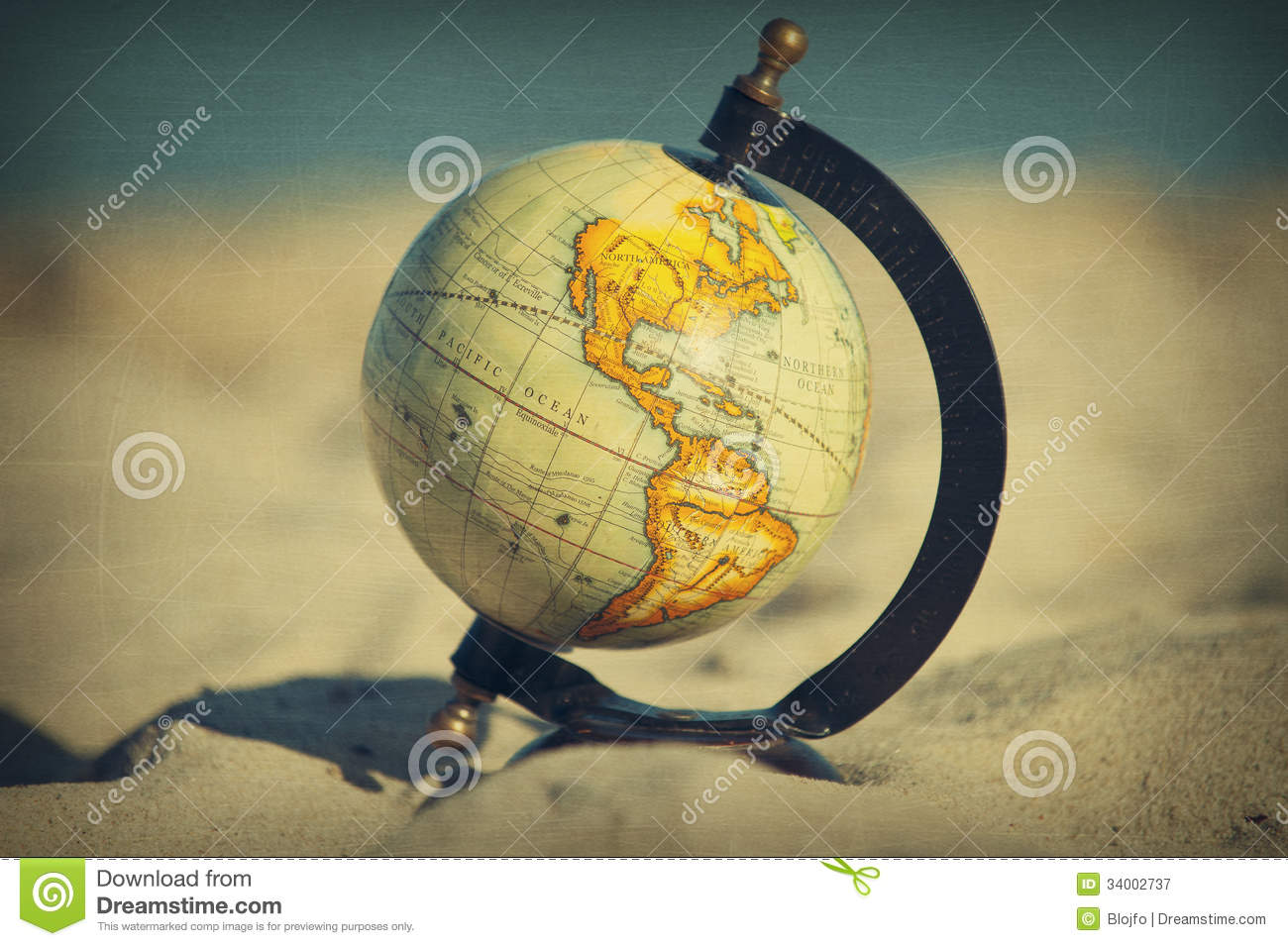 Retro global beach stock image. Image of conceptual, sand ...