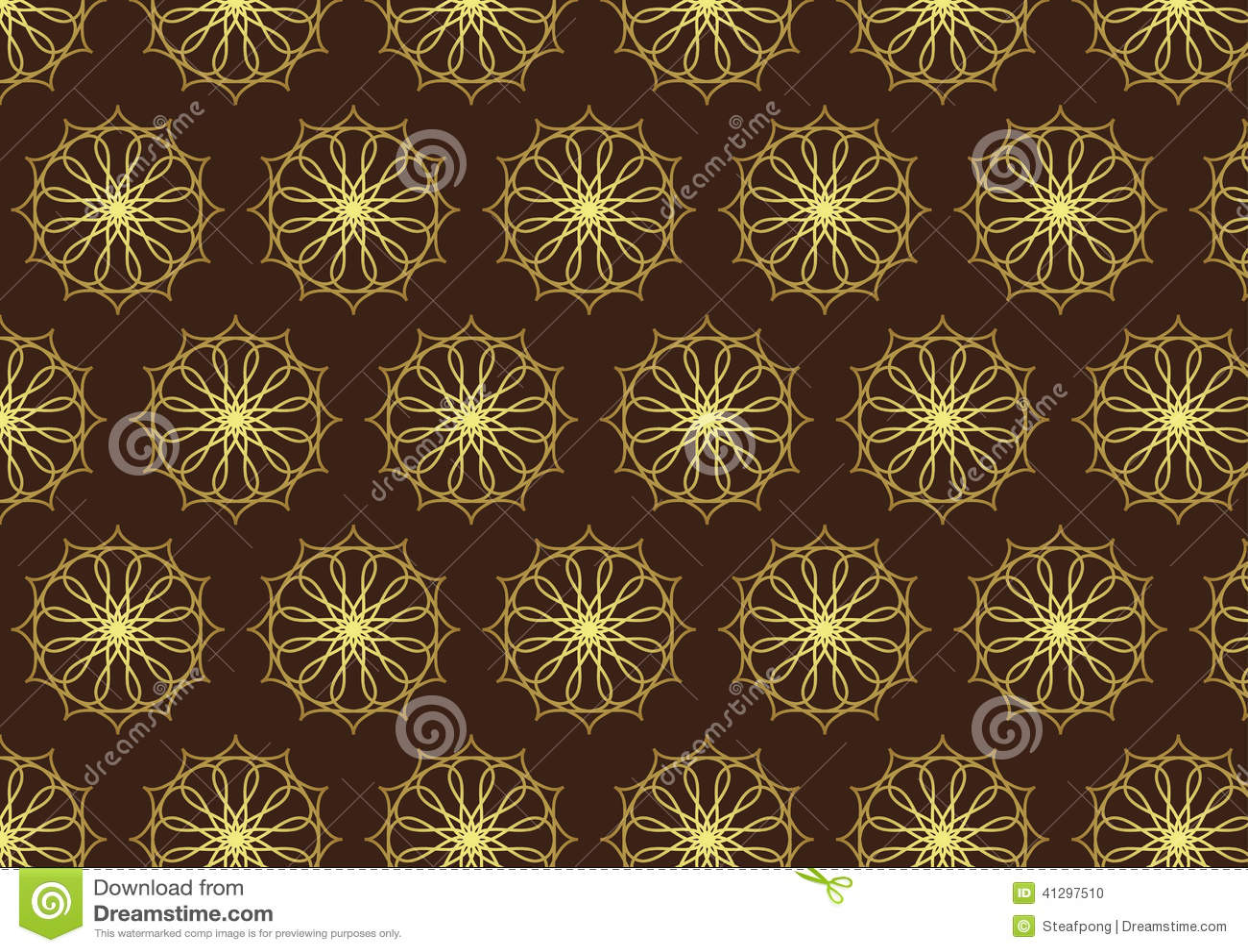 Brown Retro Flower Pattern Royalty Free Stock Image