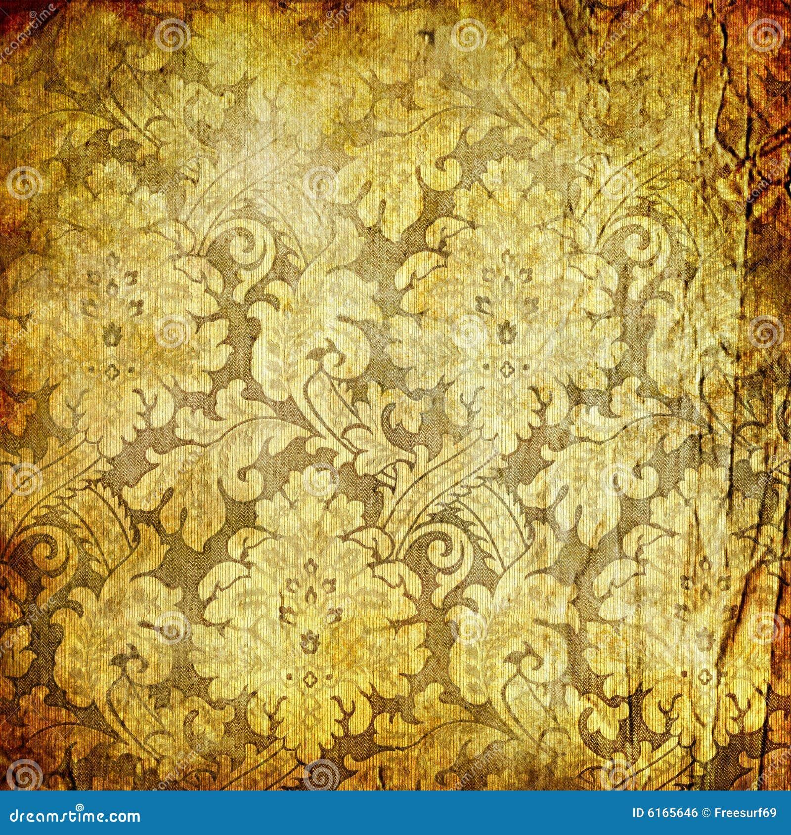 Retro golden wallpaper stock photo image of antiquarian for Goldene wand tapete