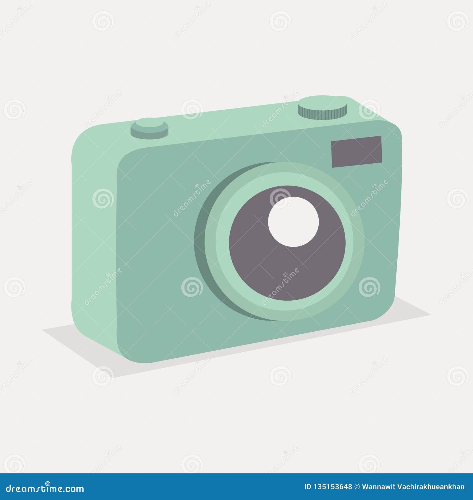 Retro grön pastellfärgad kamera