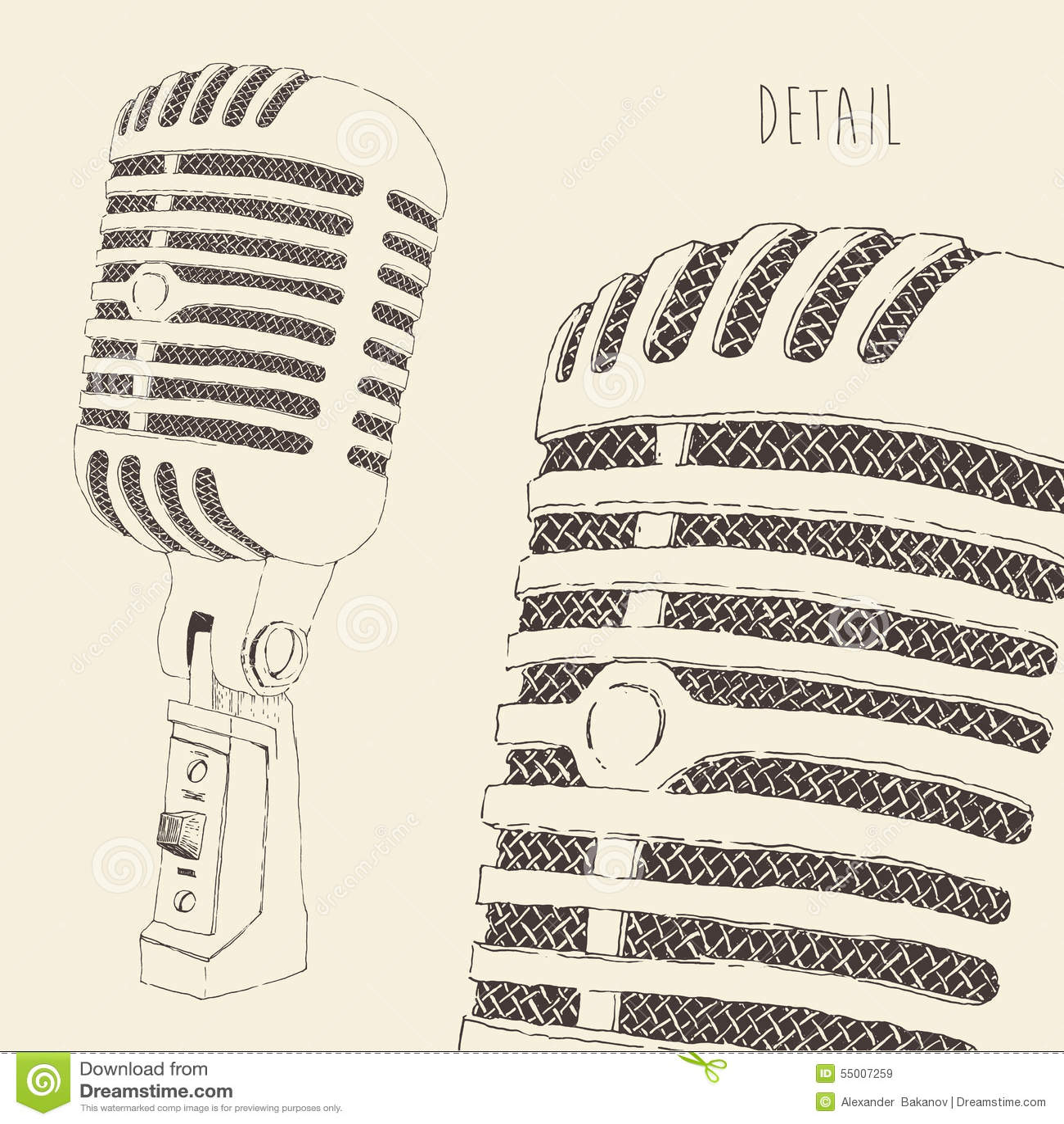Retro grabada vintage del micrófono del estudio