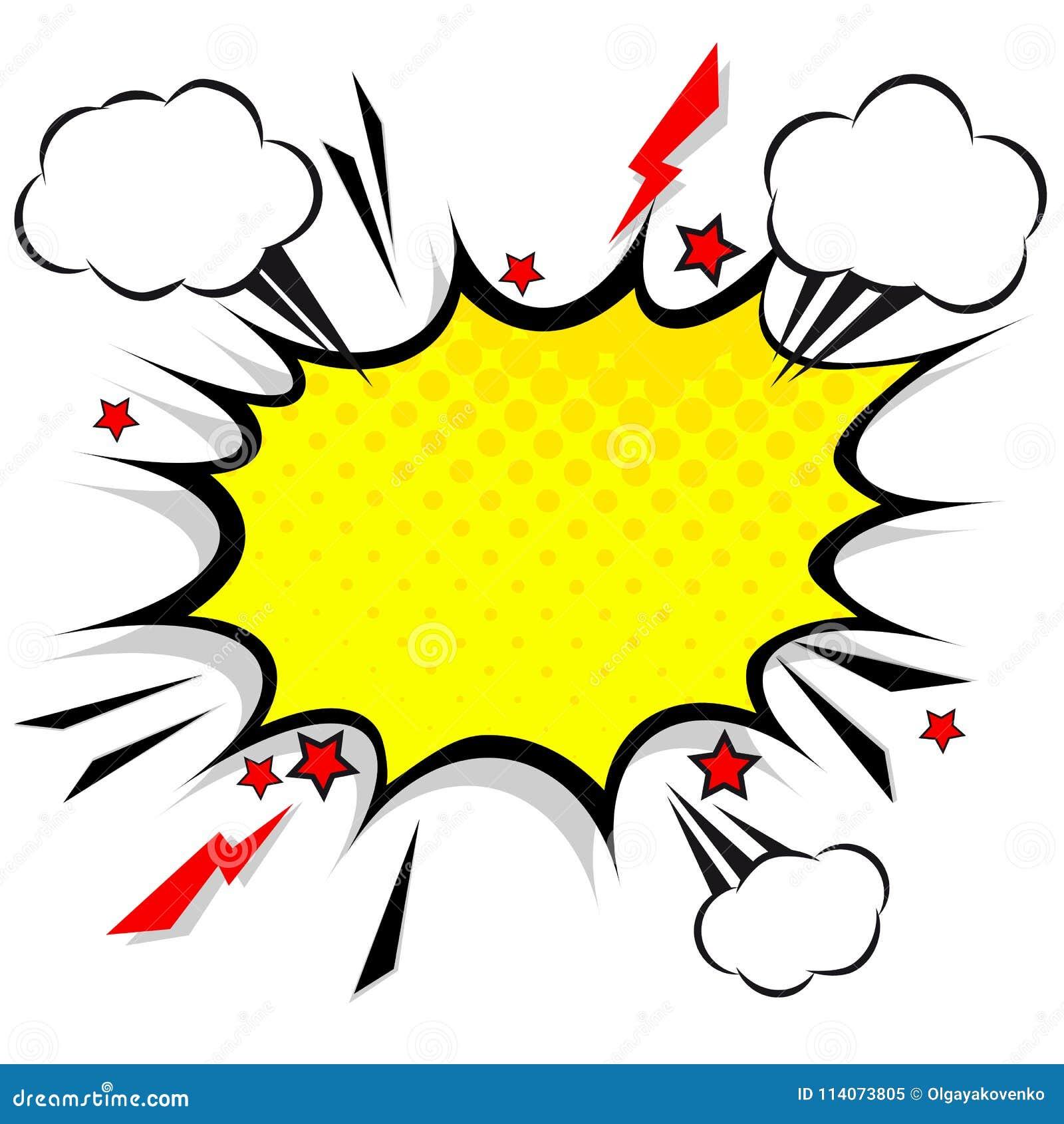 Retro grappige bellen van de ontwerptoespraak Flitsexplosie met wolken