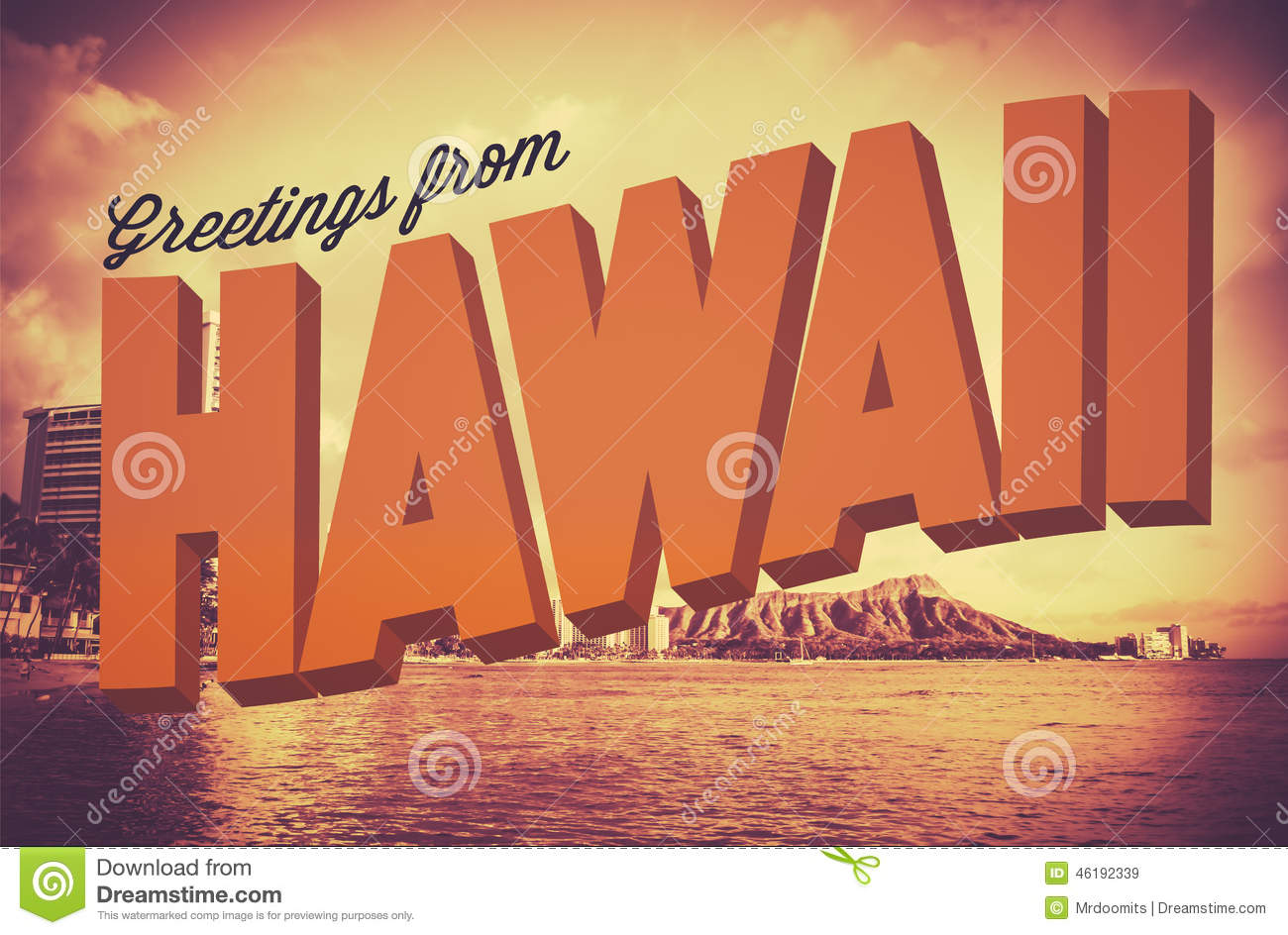 Retro Greetings From Hawaii Postcard Stock Illustration - Image ...