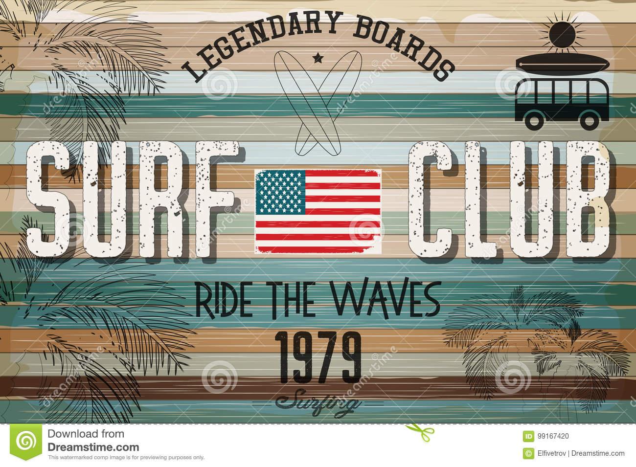 b073074127 Retro Grunge Surfing Poster Stock Vector - Illustration of beach ...