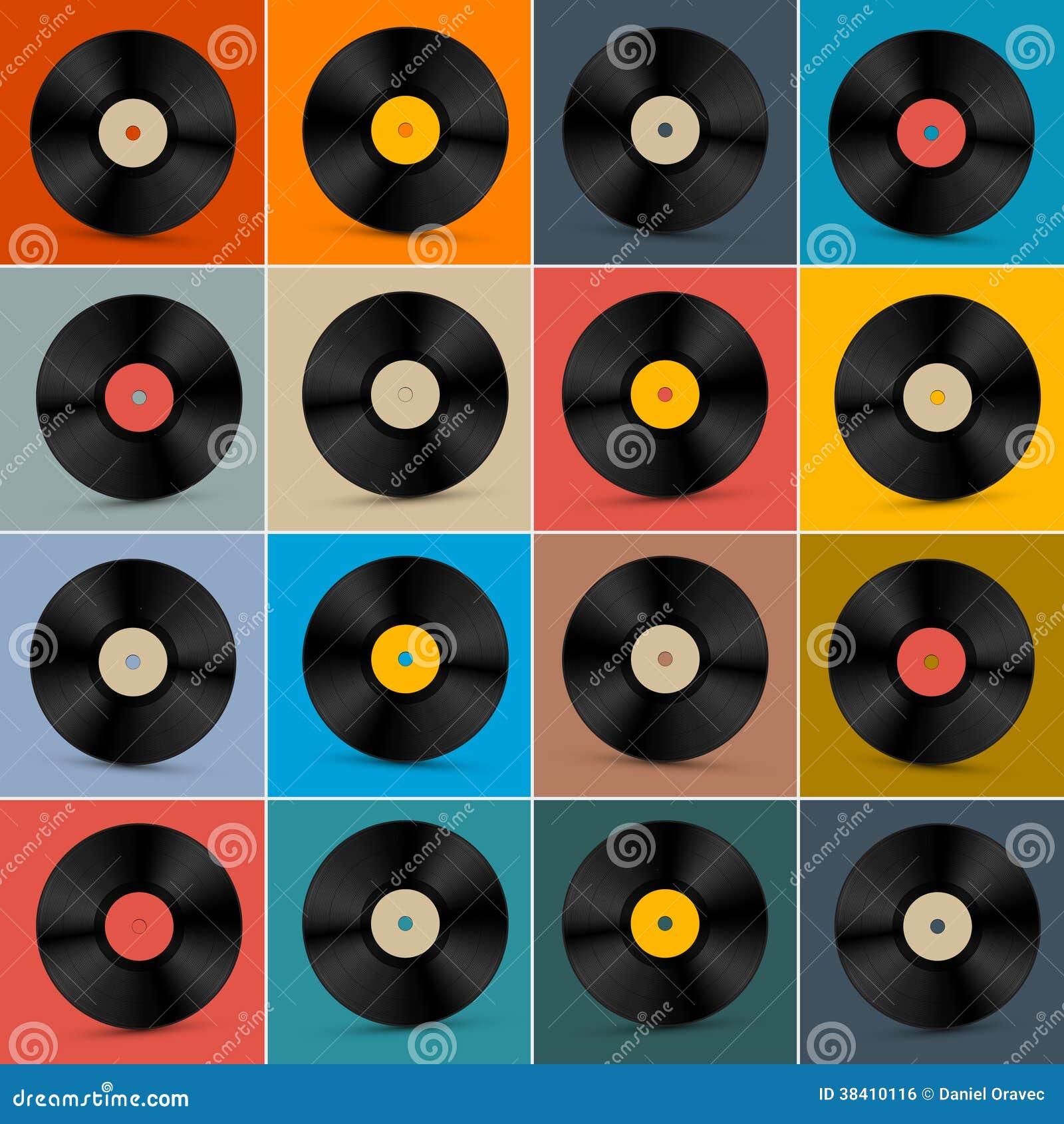 Etiquetas de cd vinilo vintage