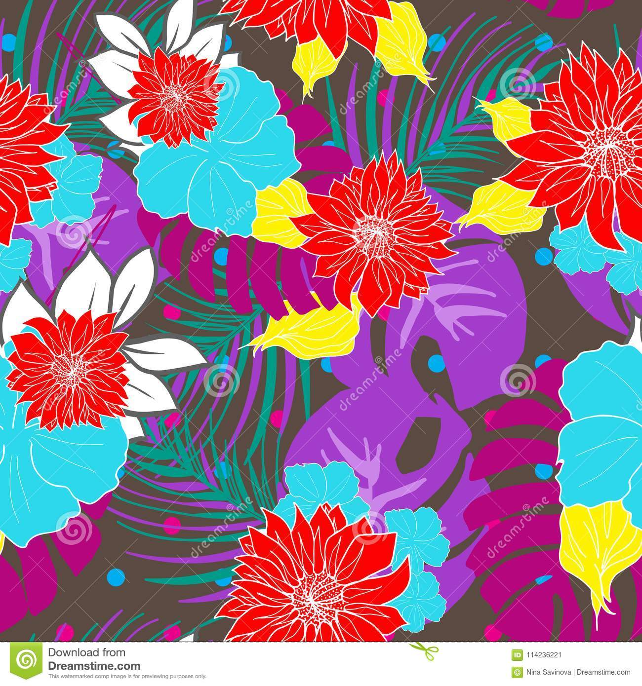 Retro Style Hand Drawn Hawaiian Tropical Leaves And Flowers Design
