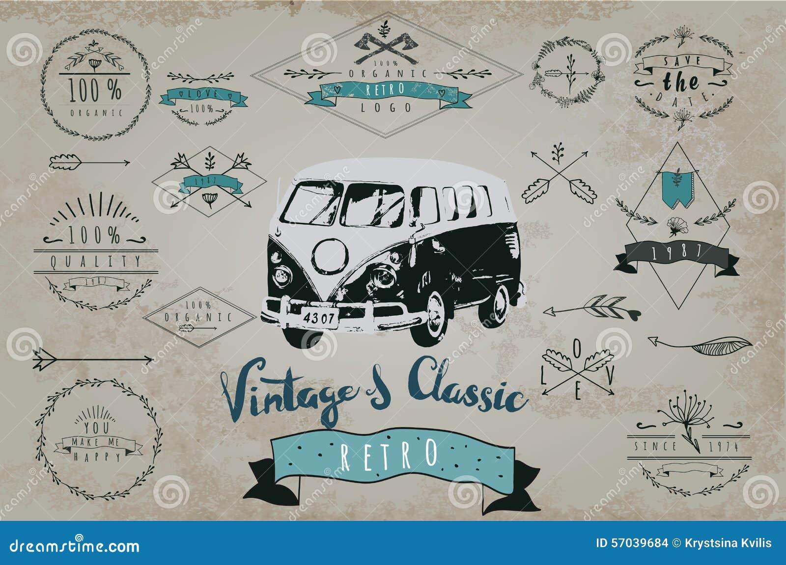 Retro Hand Drawn Set Of Vintage Logo. With Car Illustration ...