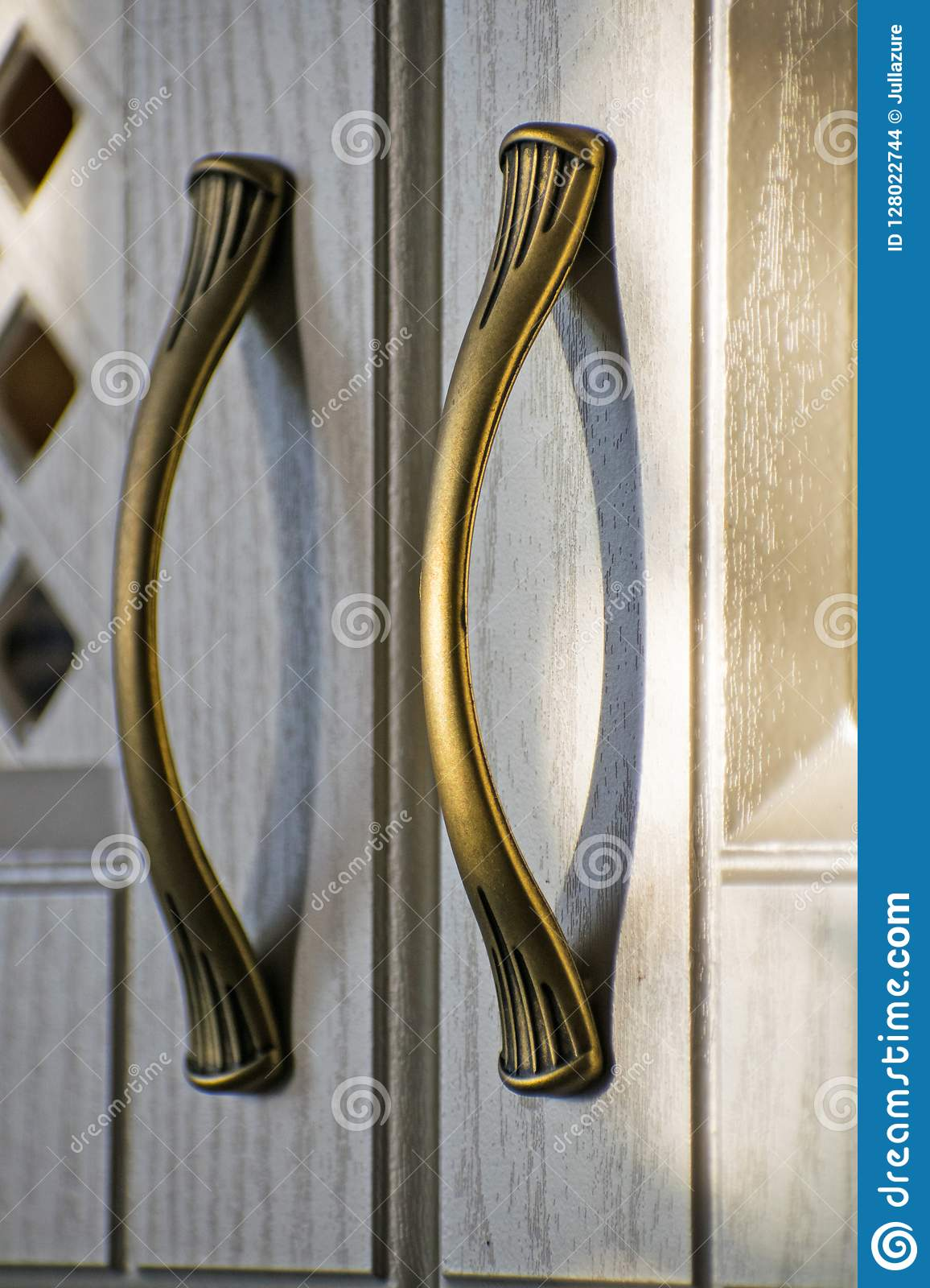 Image of: Retro Handles Metal Cabinet In The Kitchen Kitchen Cabinet Handle On Stock Photo Image Of Modern Antique 128022744