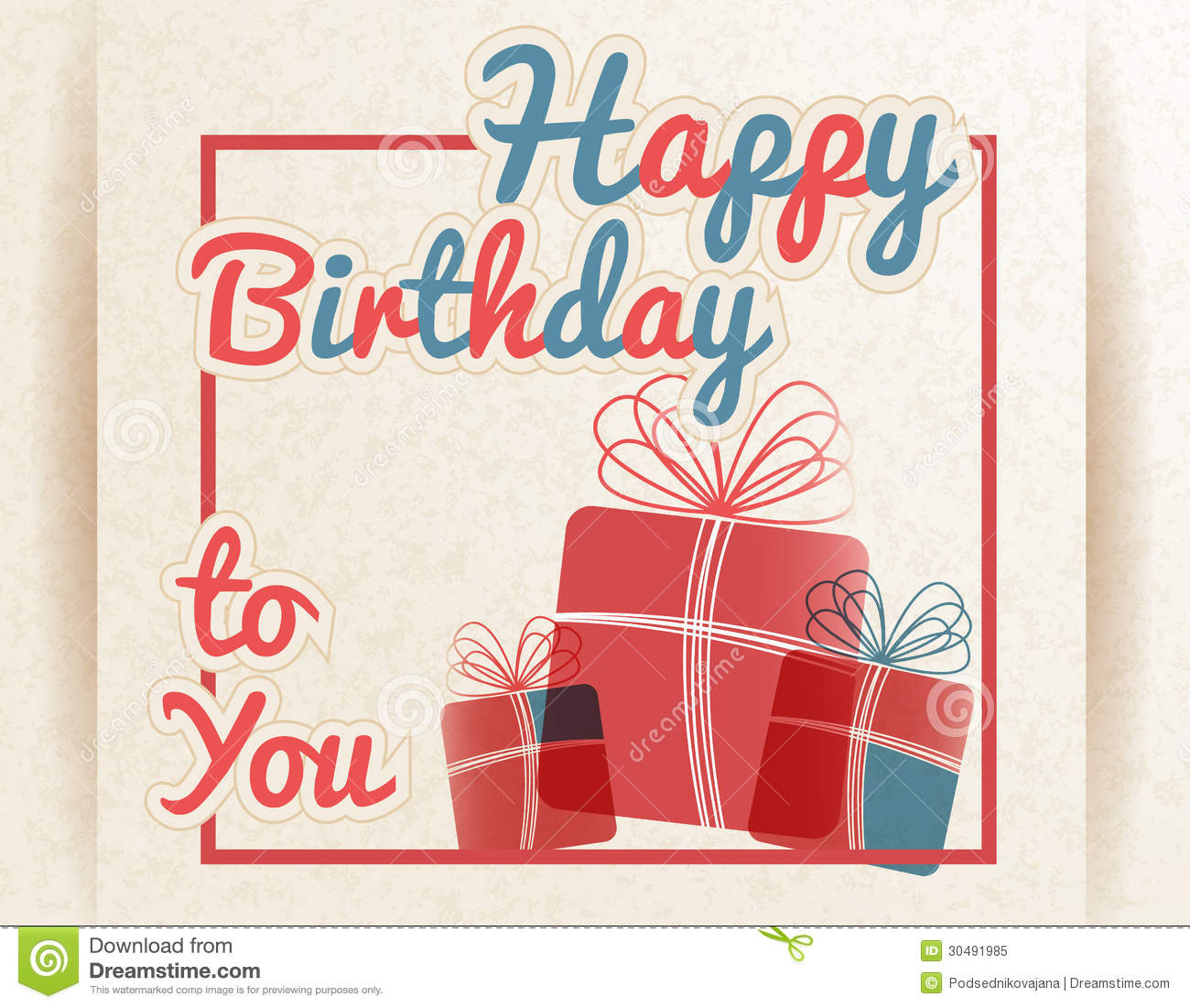 Retro Happy Birthday To You With Gifts Vector Illustration Download Preview