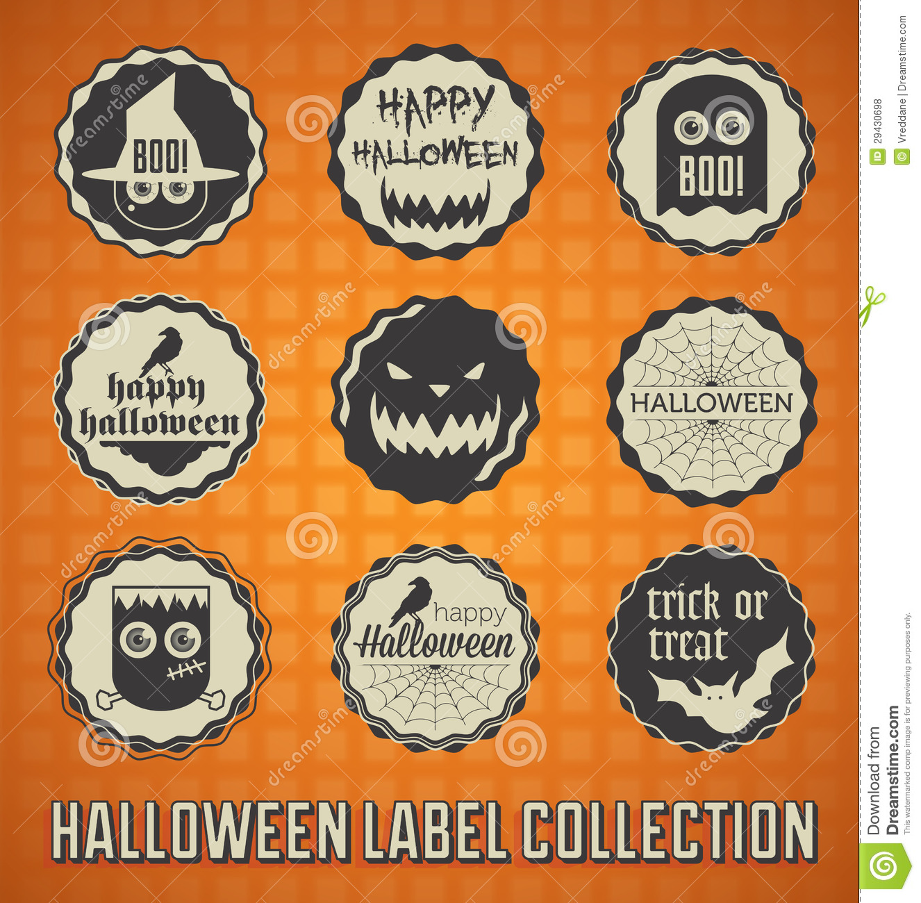 retro happy halloween labels and icons royalty free stock