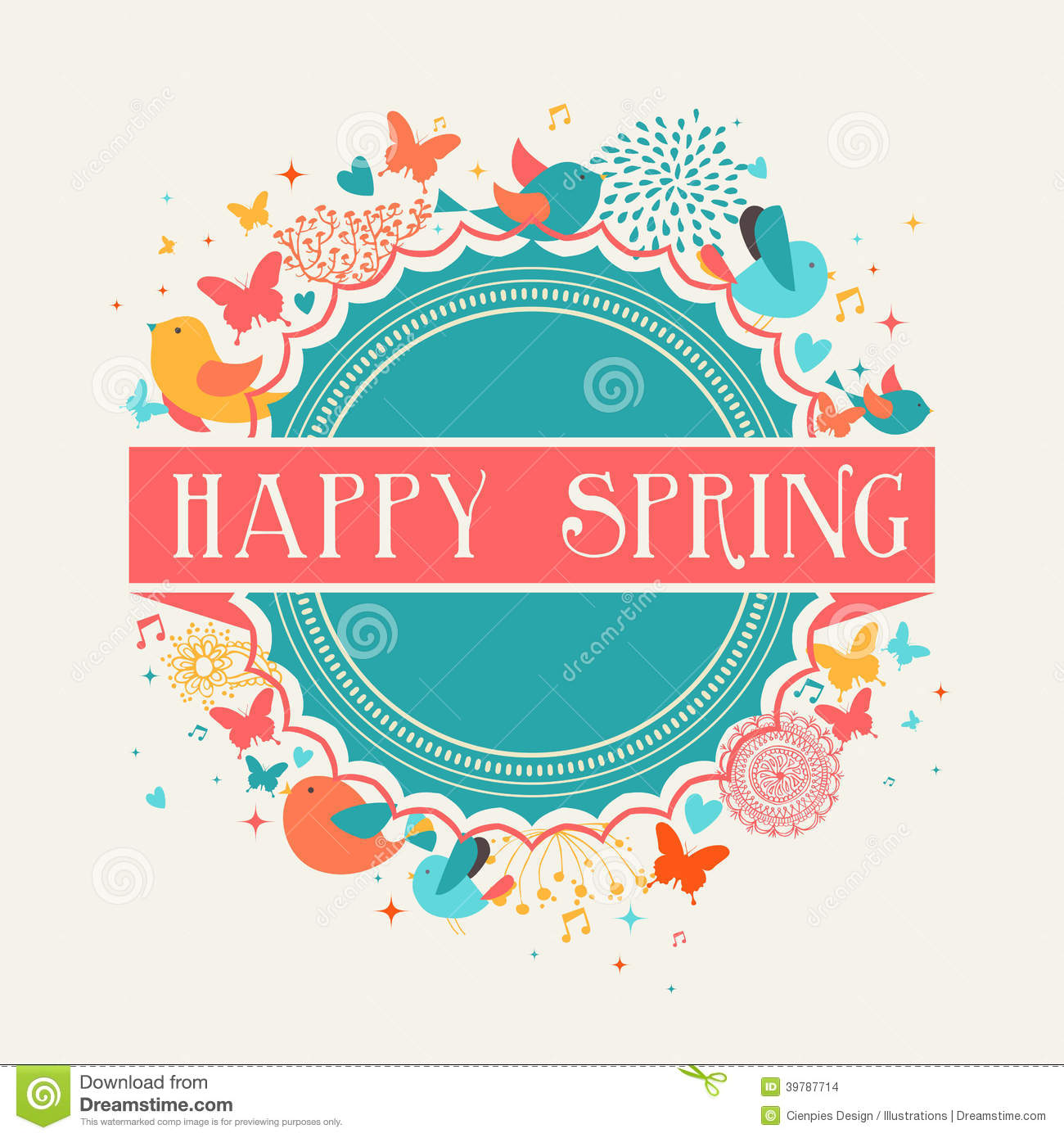 Happy Spring Flower Composition Cartoon Vector
