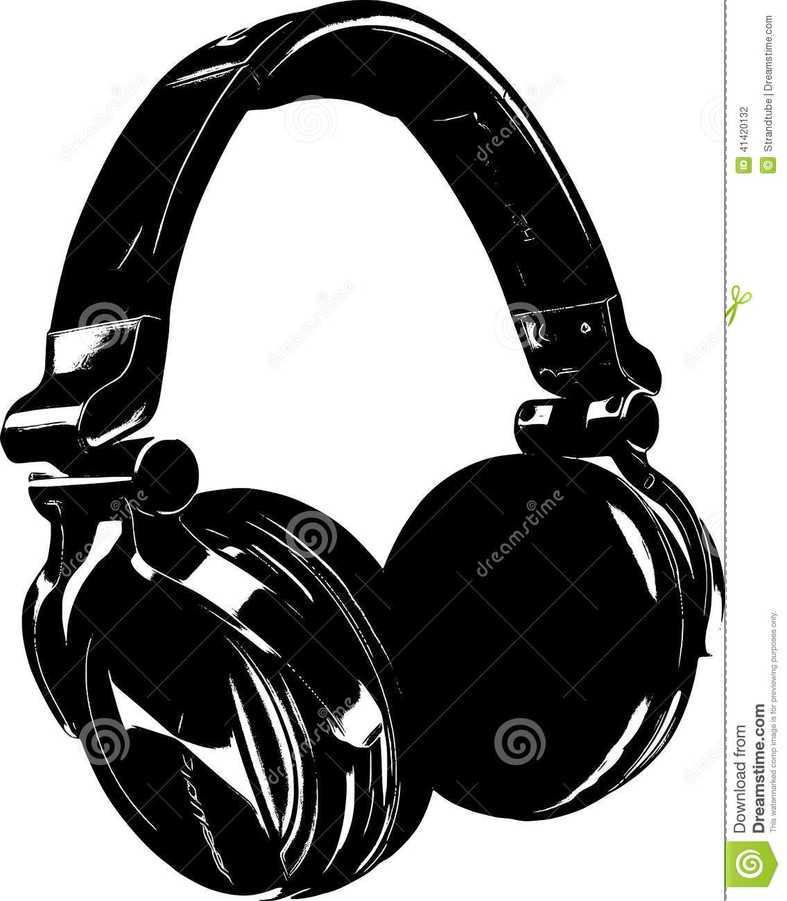 Line Art Headphones : Stock photography retro headphone eps image