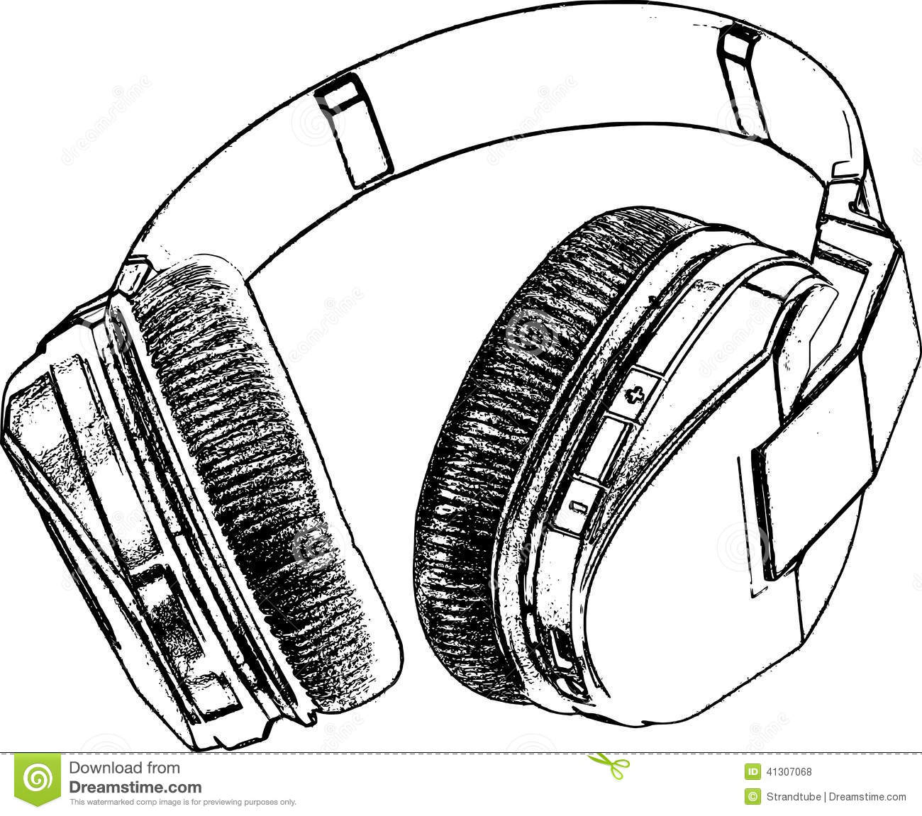 Line Art Headphones : Retro headphone sketch stock vector image of objects
