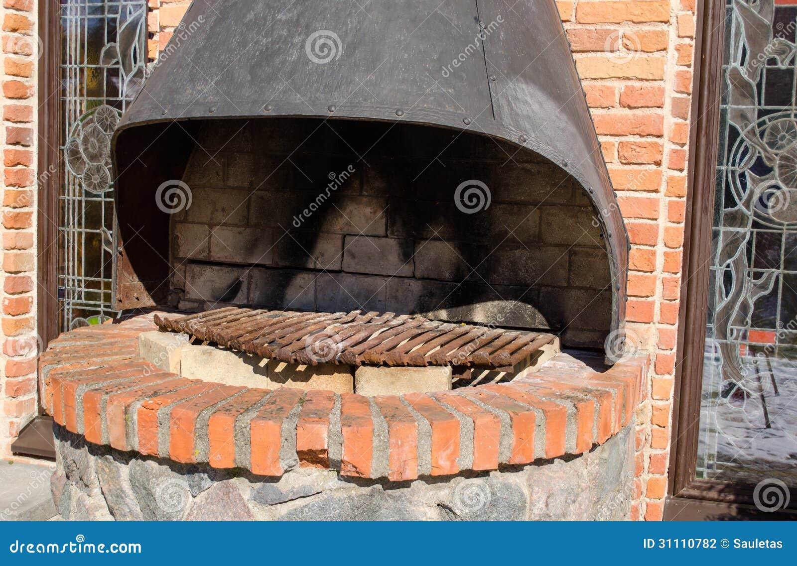 Retro hearth fireplace brick wall outdoor closeup stock for Foyer brique exterieur