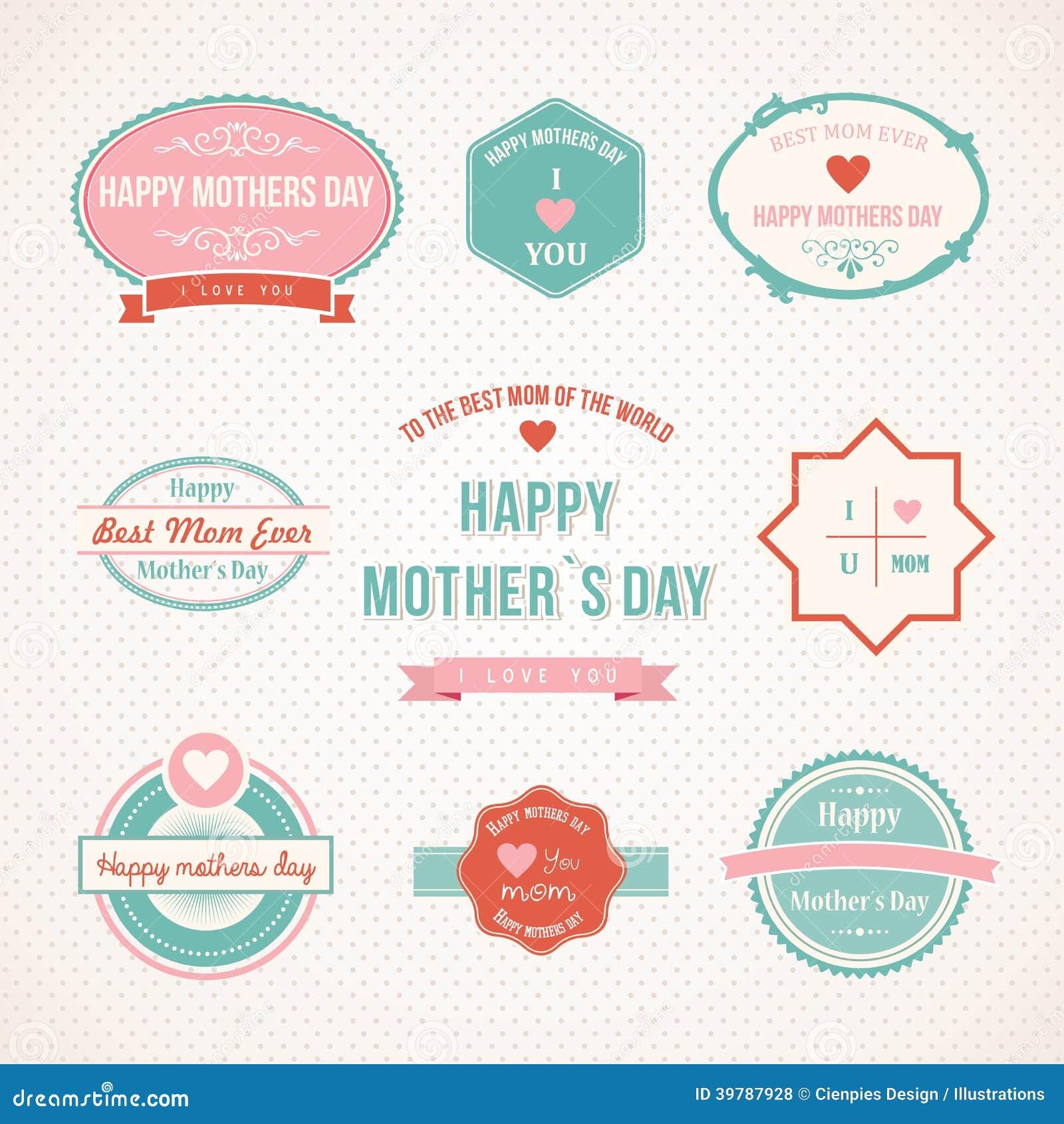 Retro het etiket vastgesteld ontwerp van de Moedersdag