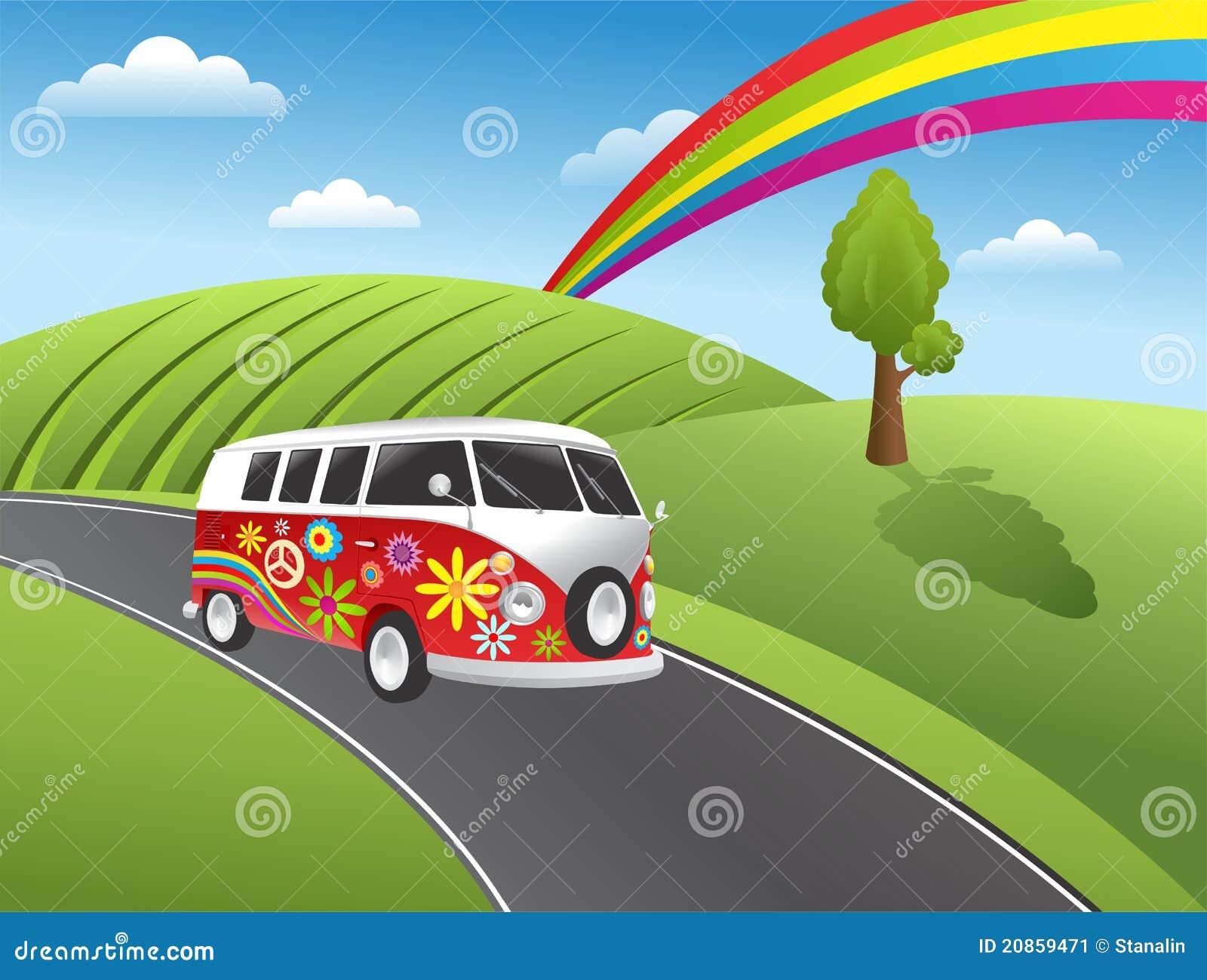 Retro hipisa samochód dostawczy