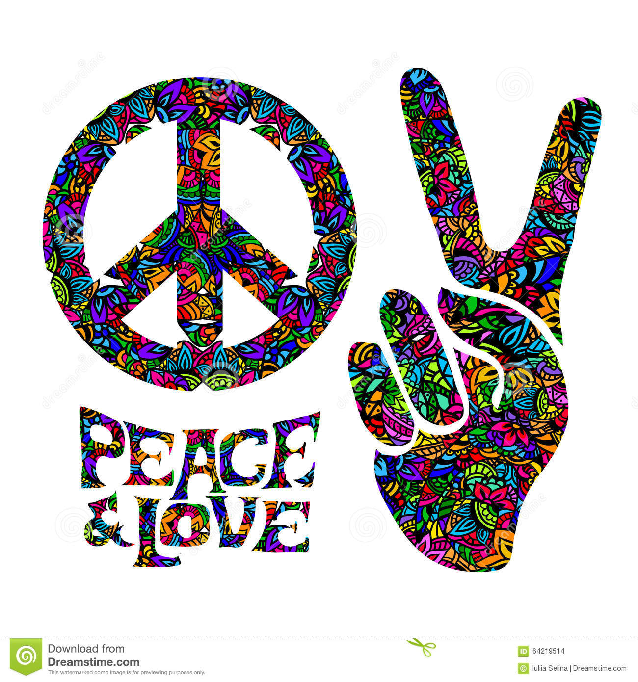 Hippie symbols two fingers as a sign of victory, a sign of Pacific and ...