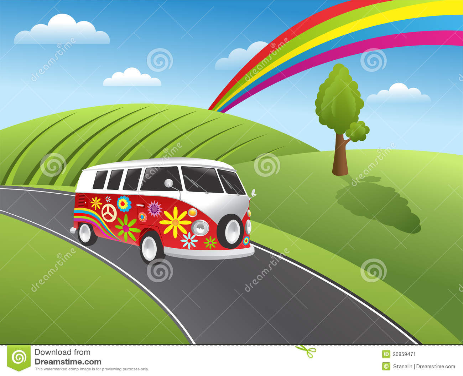 retro hippie van stock image
