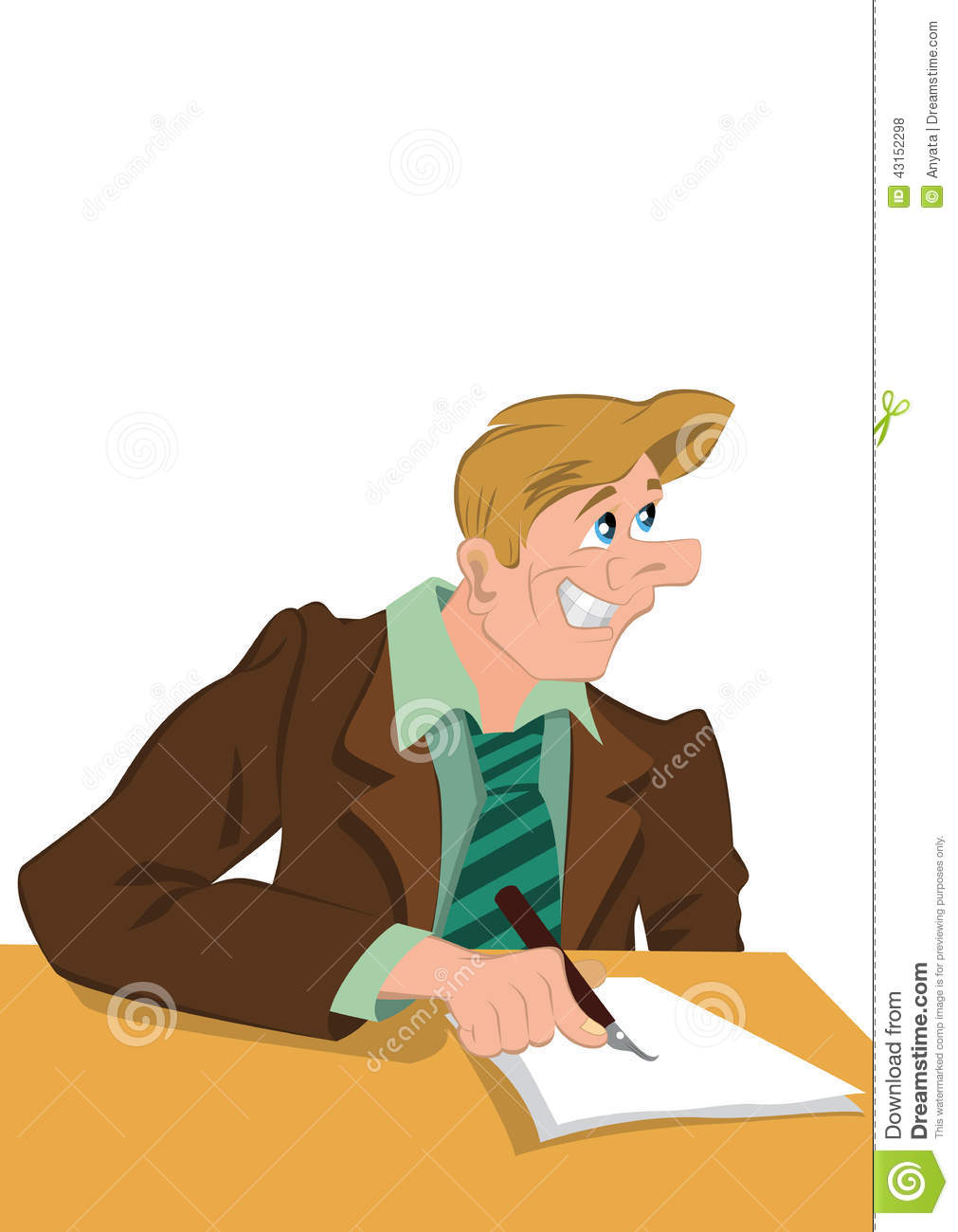 Retro hipster happy man writing with smile on his face