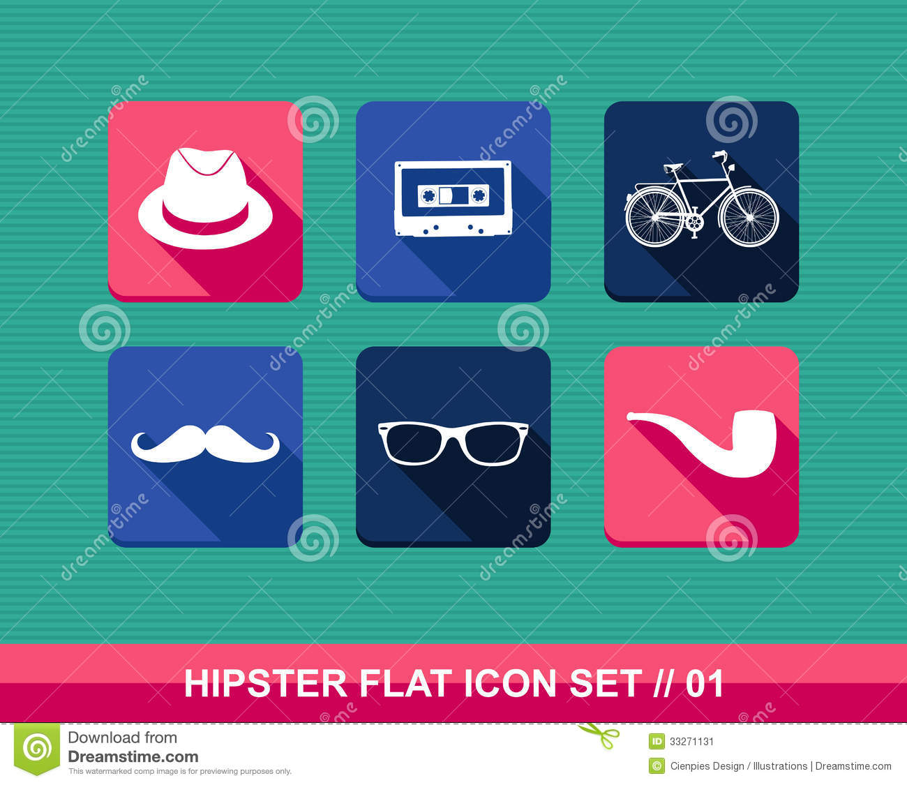 Retro Hipsters Flat Icons Set Stock Vector Image 33271131