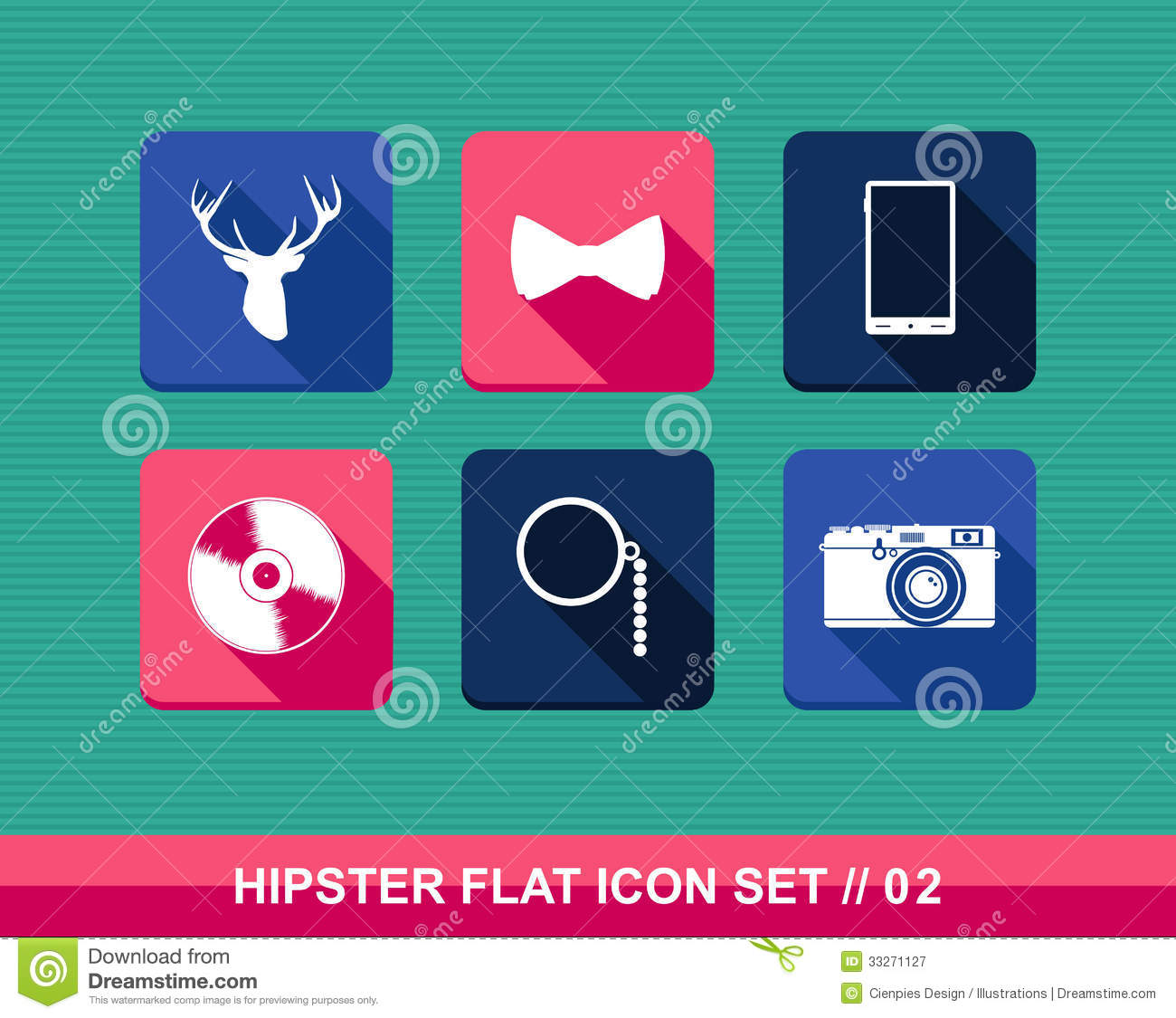 Retro Hipsters Style Flat Icons Set Stock Vector Image 33271127