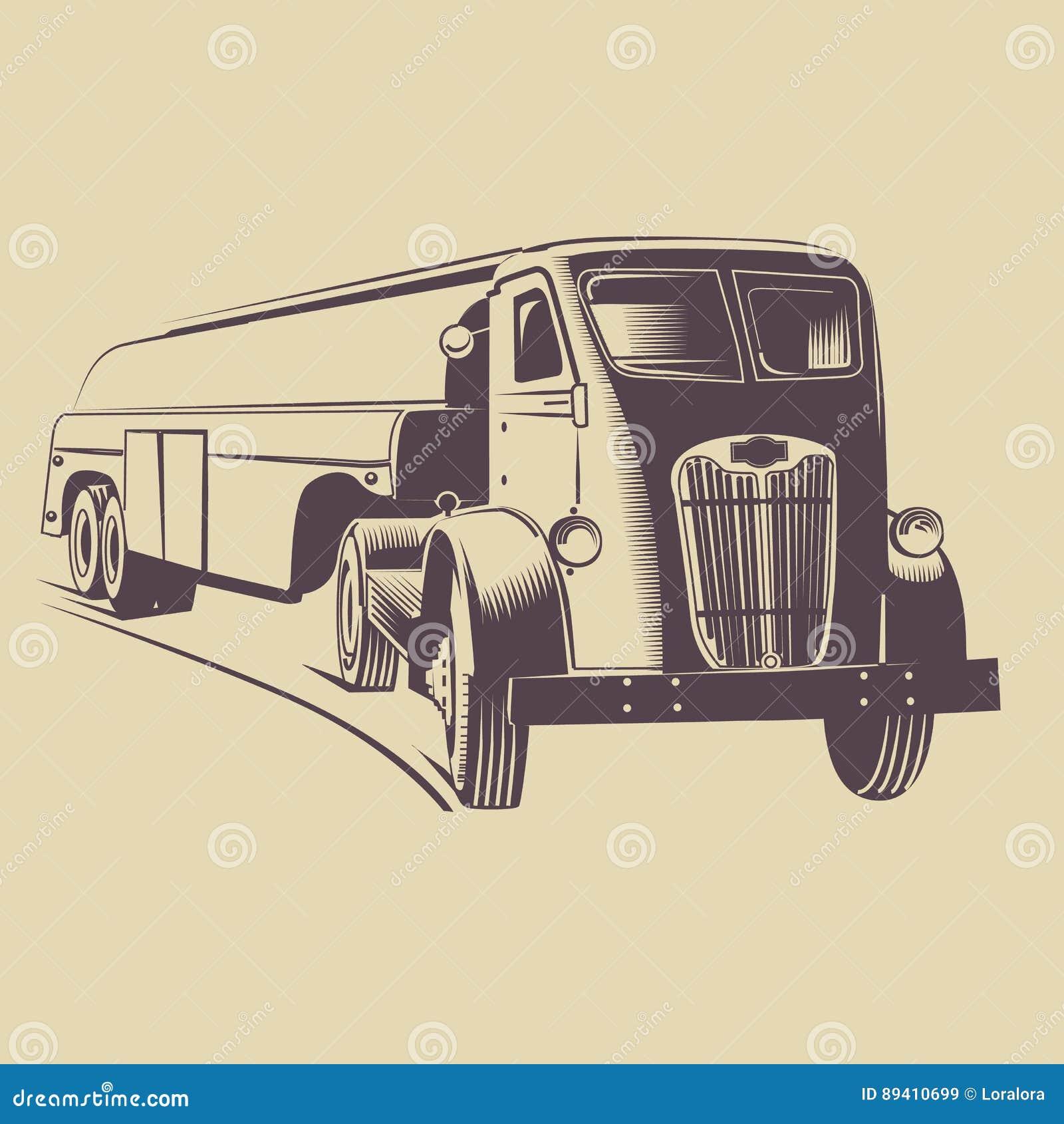 Retro histórico do caminhão 1945 americanos
