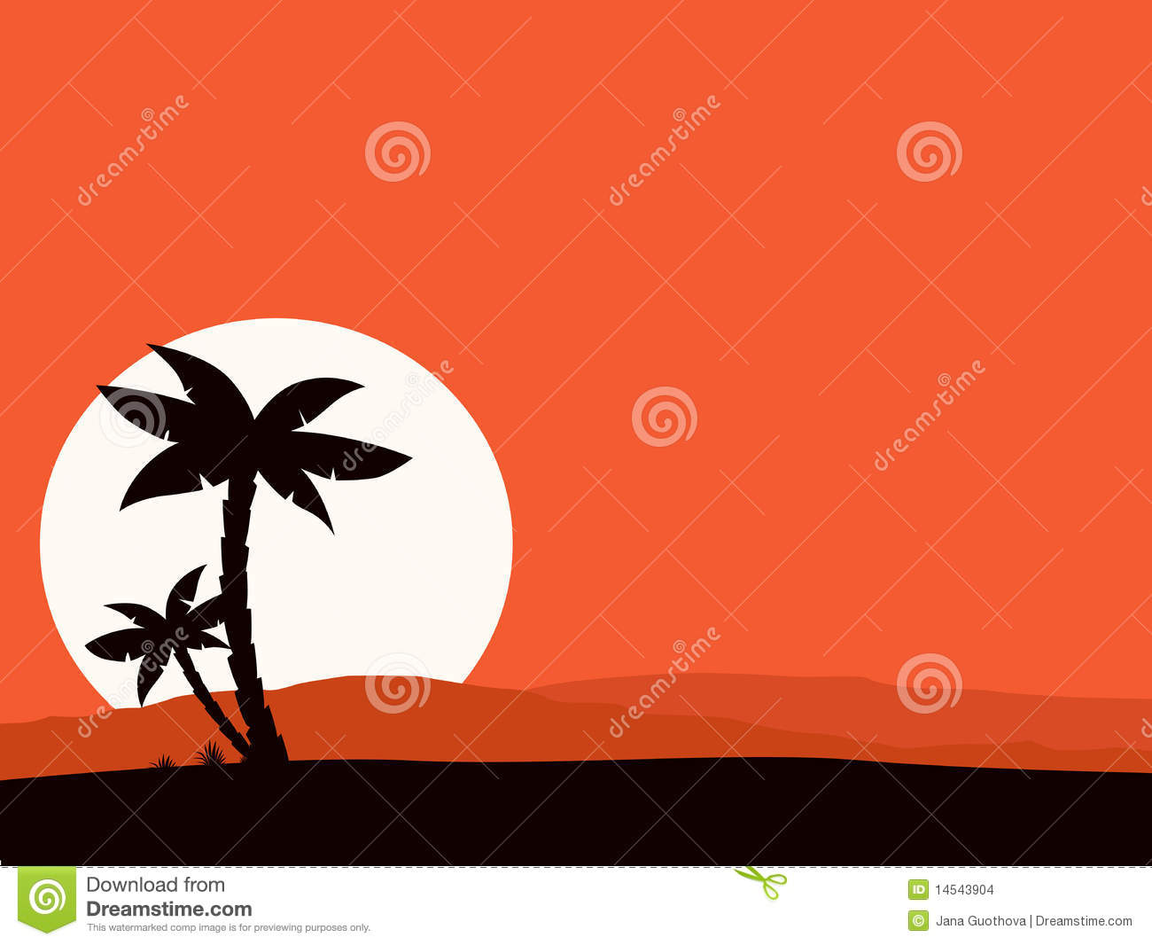 Retro holiday red background with sunset and palm