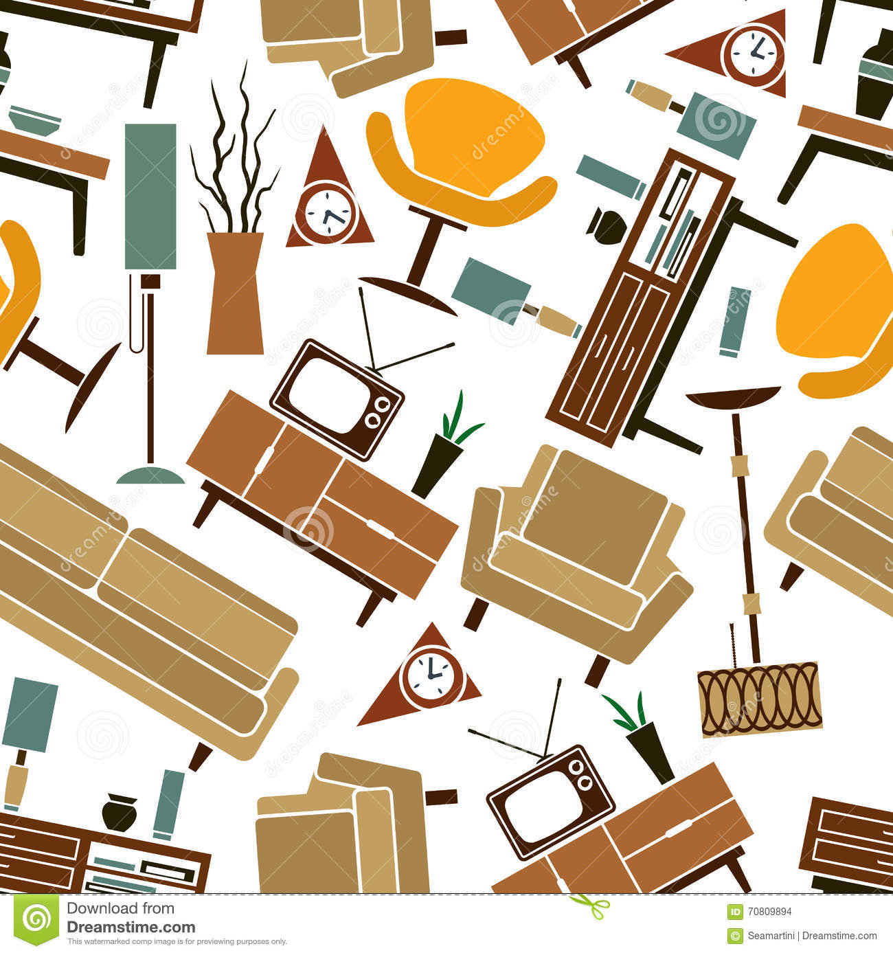 retro home furnitures seamless pattern background stock