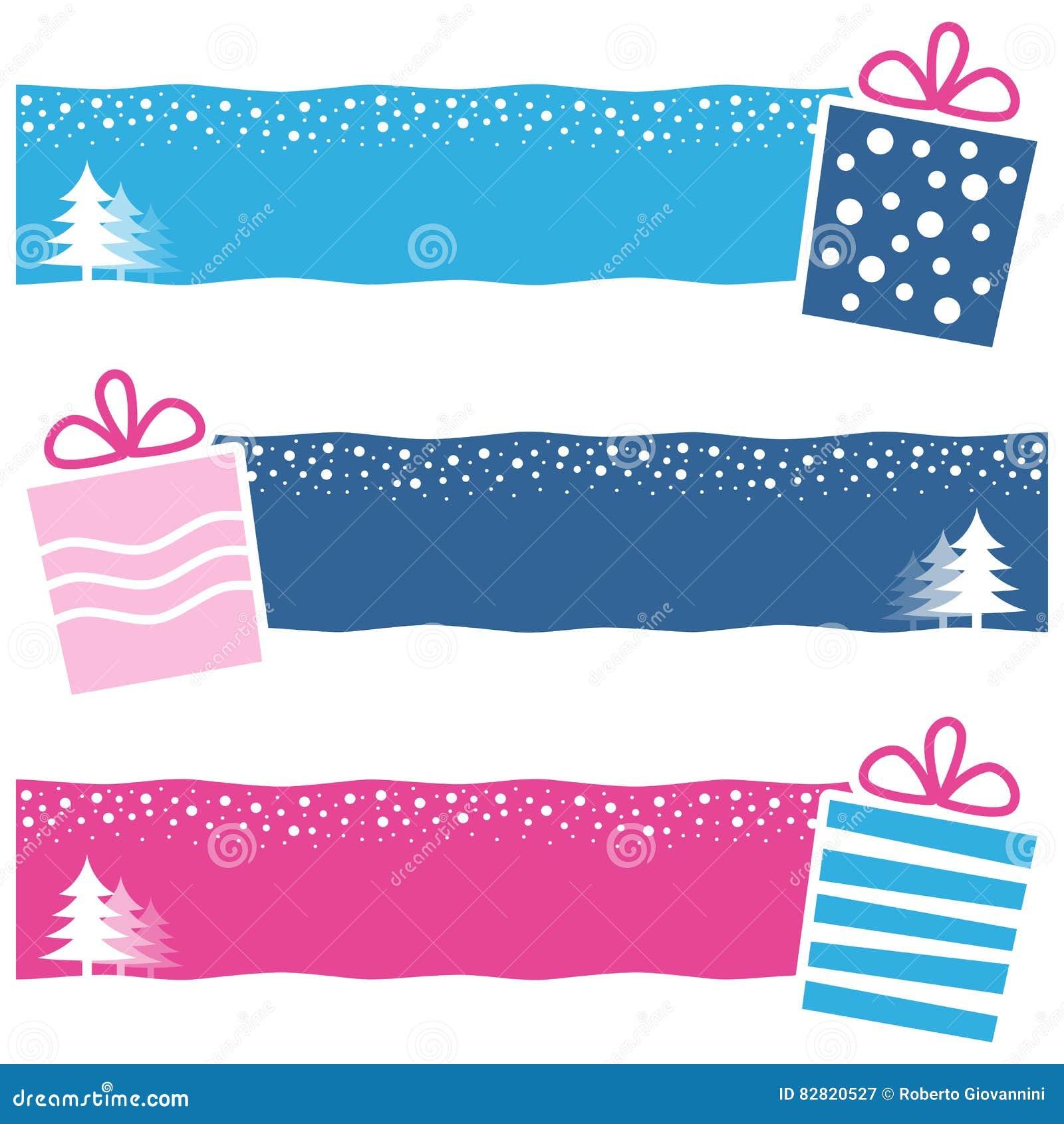Retro Horizontale Banners van Kerstmisgiften