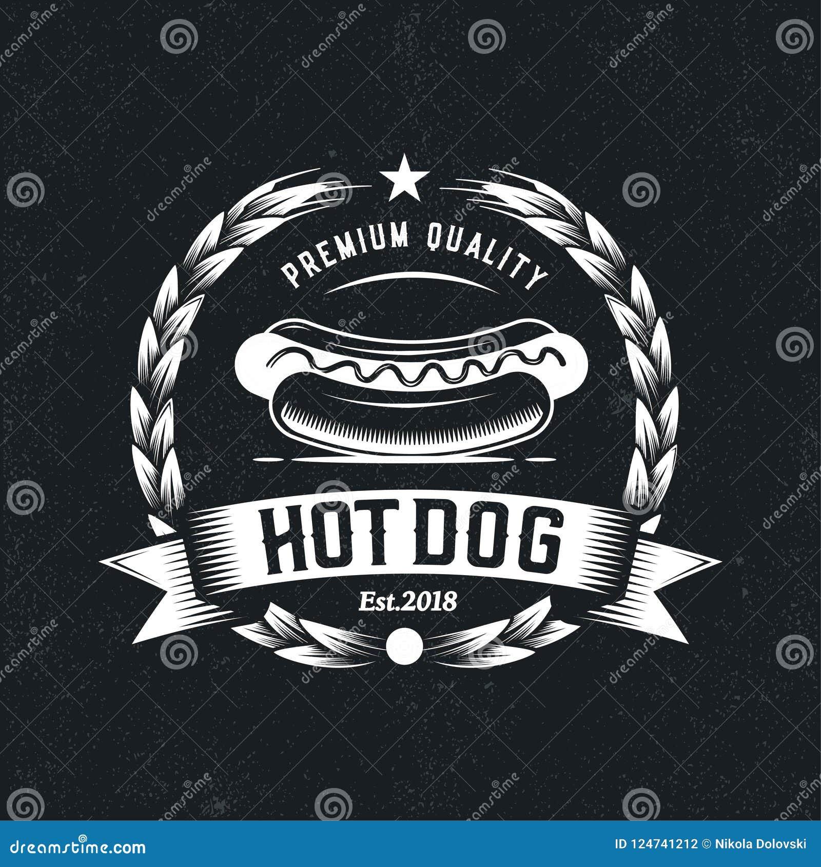 Retro Hot Dog Logo Fast Food Badge Illustration Vector