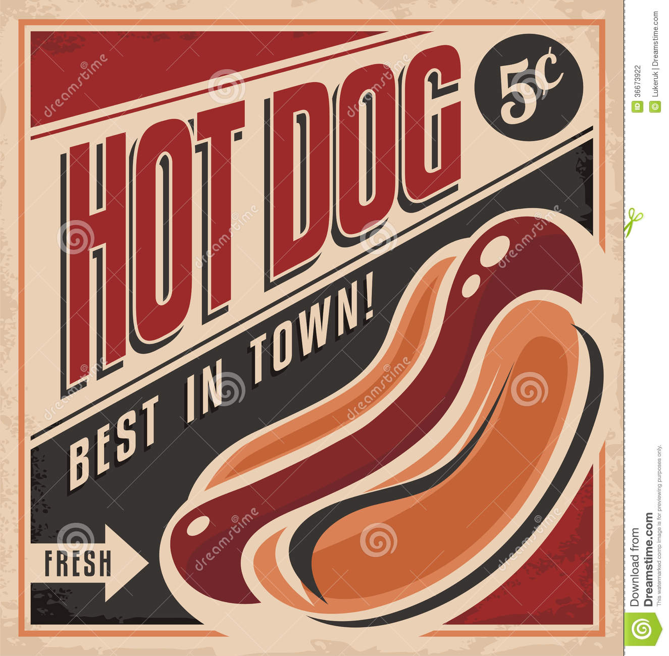 Best hot dogs in town, vintage flyer template on old paper texture ... Norman Reedus Jarah Mariano