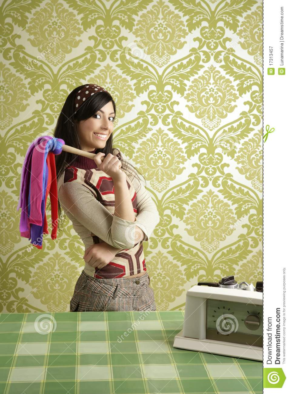 Retro housewife cleaning duster woman sixties stock image for Classic housewife