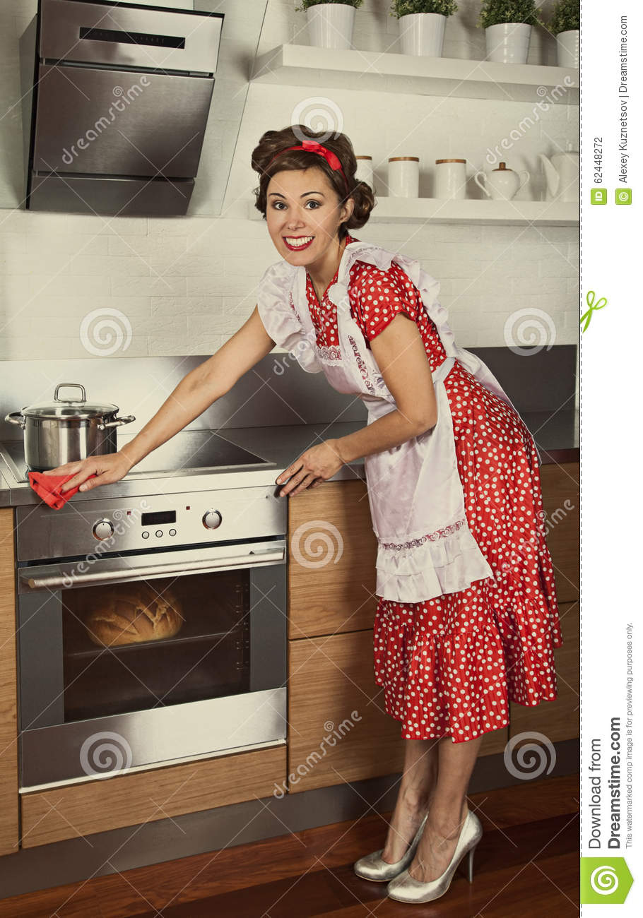 Retro housewife cleaning kitchen stock photo image 62448272 for Classic 50s housewife