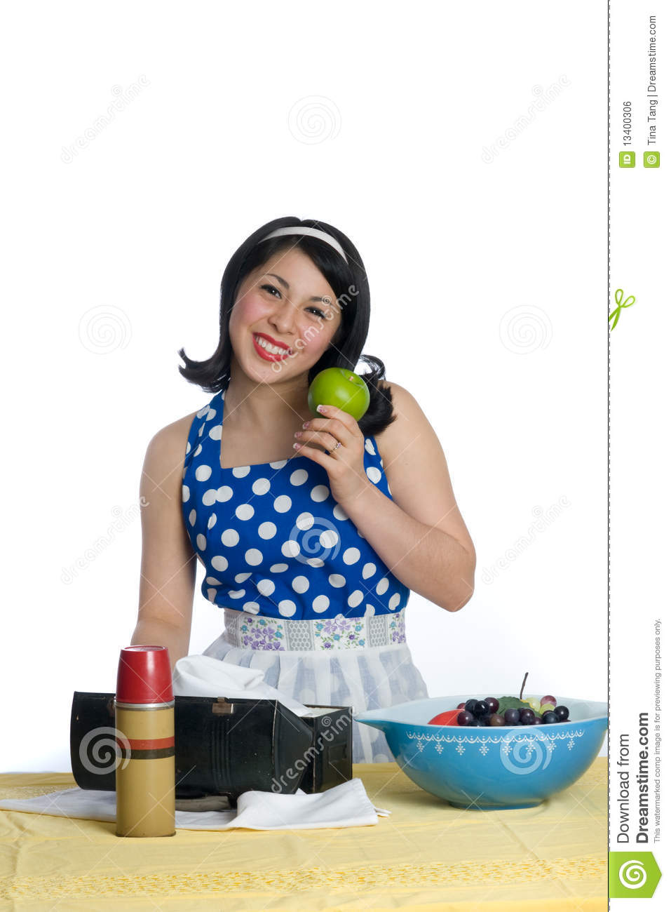 Retro housewife with green apple royalty free stock image for Classic housewife