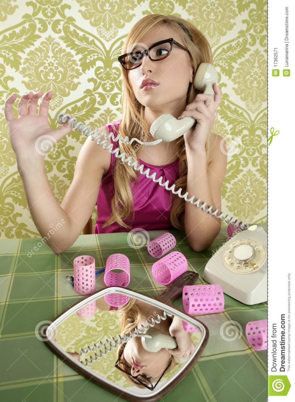 Retro housewife telephone woman vintage wallpaper stock for Classic housewife