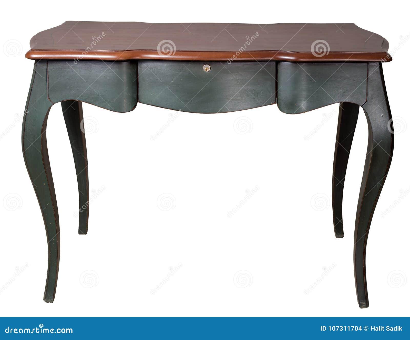 Retro houten bureaulijst met donkergroene benen en drie die laden op witte achtergrond met inbegrip van het knippen van weg worde