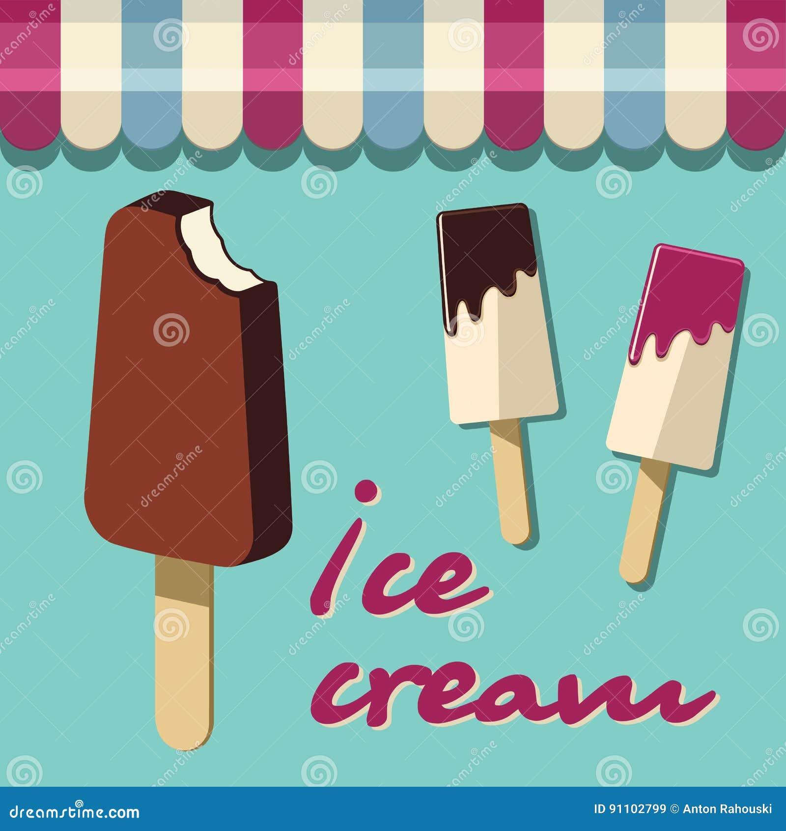 Dessert Yummy Ice Cream Wallpapers: Retro Ice Cream Poster. Vintage Illustration Sign